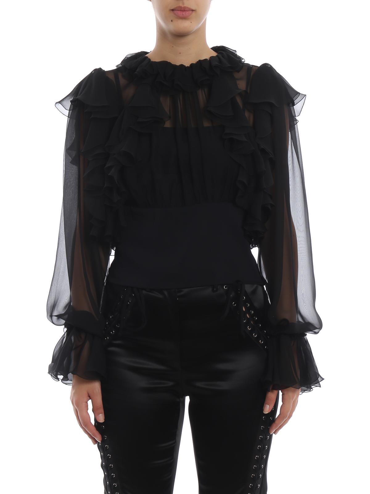 29a4e6de8d0 Dolce Gabbana Sheer Silk Chiffon Ruffle Crop Blouse Blouses
