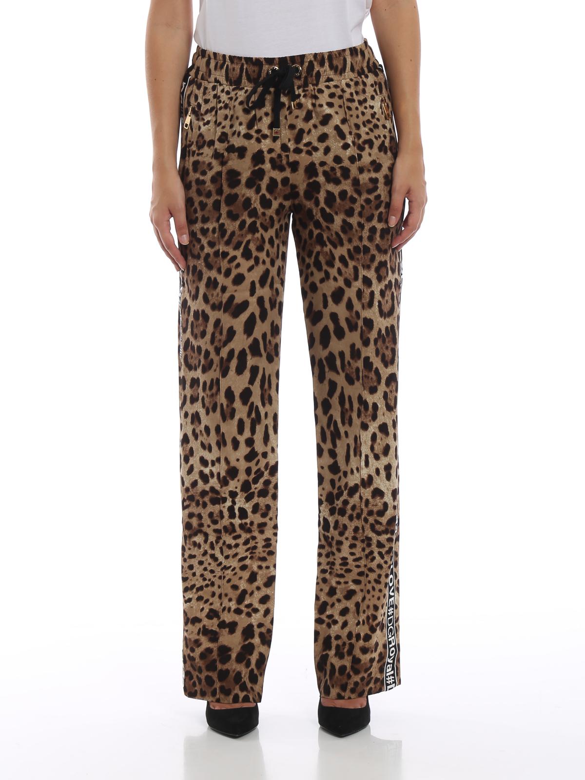 iKRIX DOLCE   GABBANA  casual trousers - Leo print stretch silk wide leg  pants 1a0b0ae6c