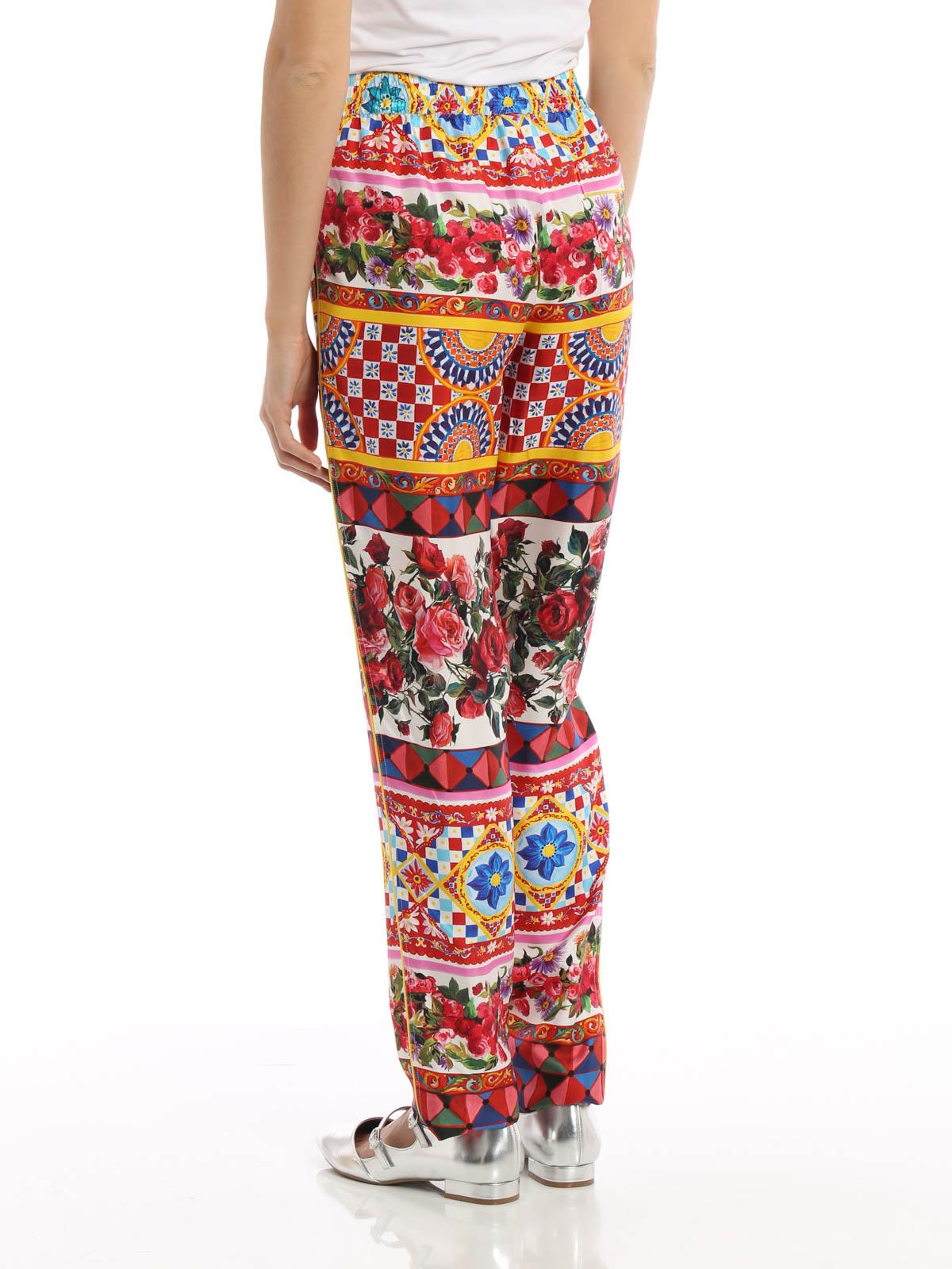 a136727df8 iKRIX DOLCE   GABBANA  casual trousers - Mambo print silk pyjamas trousers