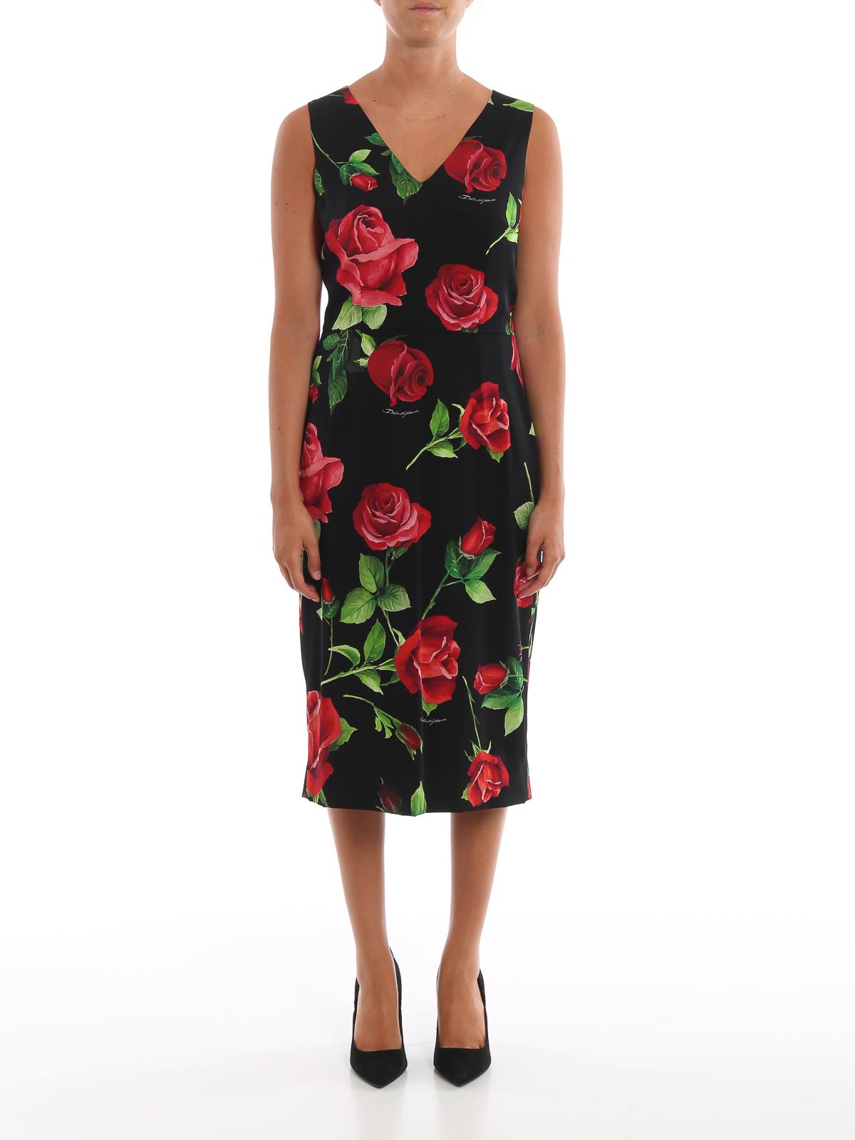new style 4ad1c 9115b Dolce & Gabbana - Tubino smanicato in seta stampa rose ...