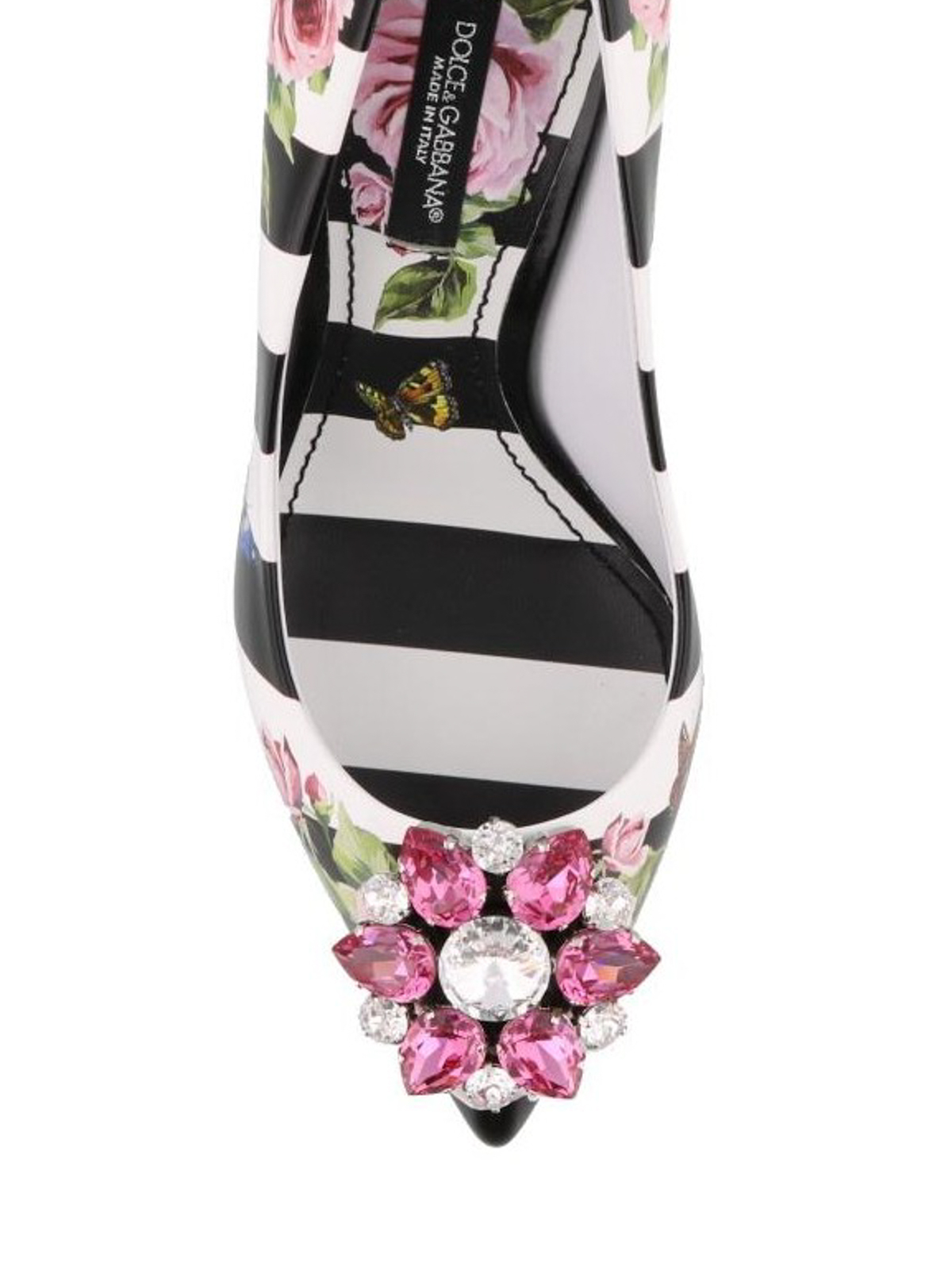 7aeca43605e2 iKRIX DOLCE   GABBANA  court shoes - Rose print striped leather pumps