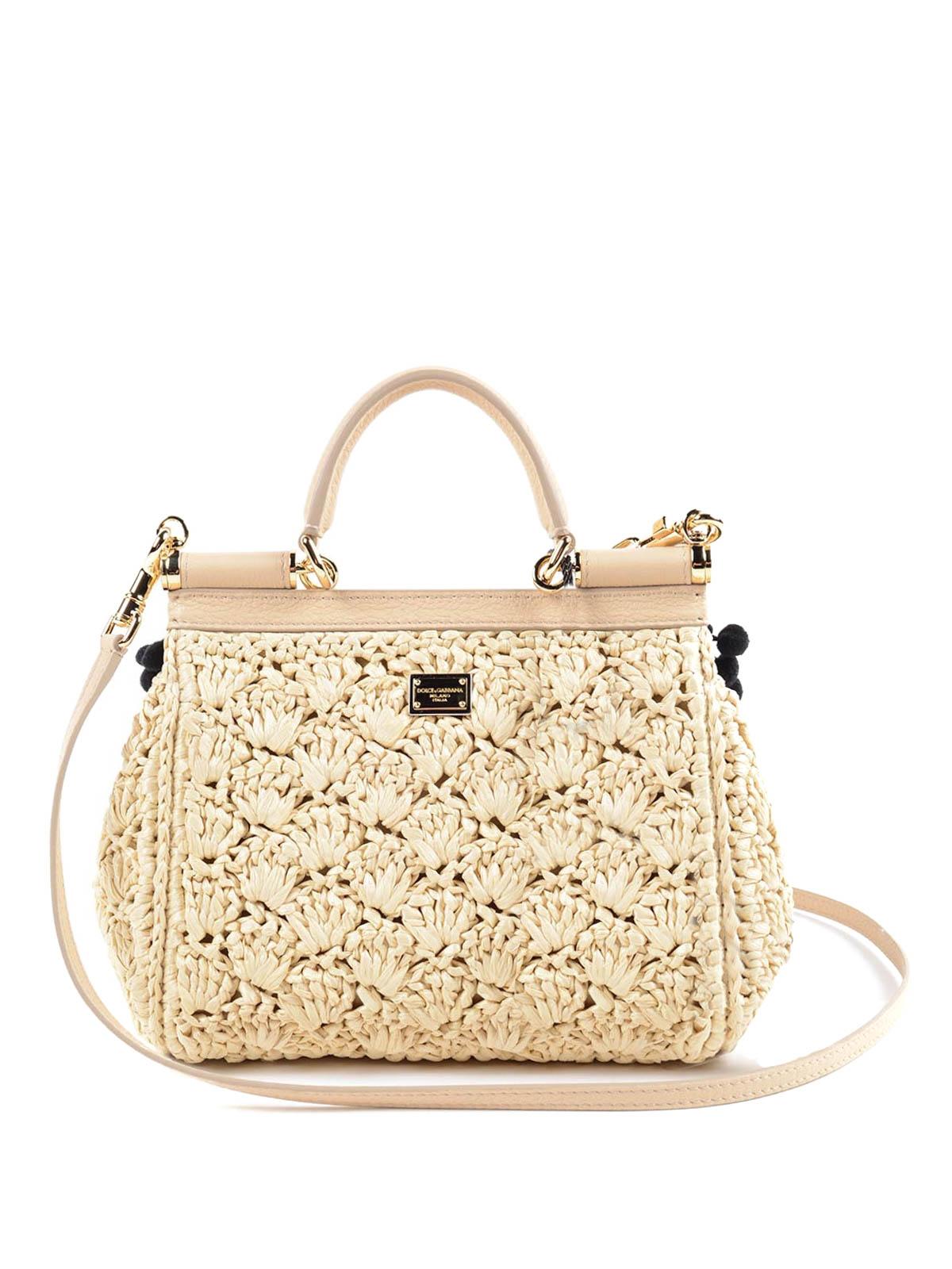 iKRIX DOLCE   GABBANA  cross body bags - Sicily embellished raffia bag 74551d9a3f887