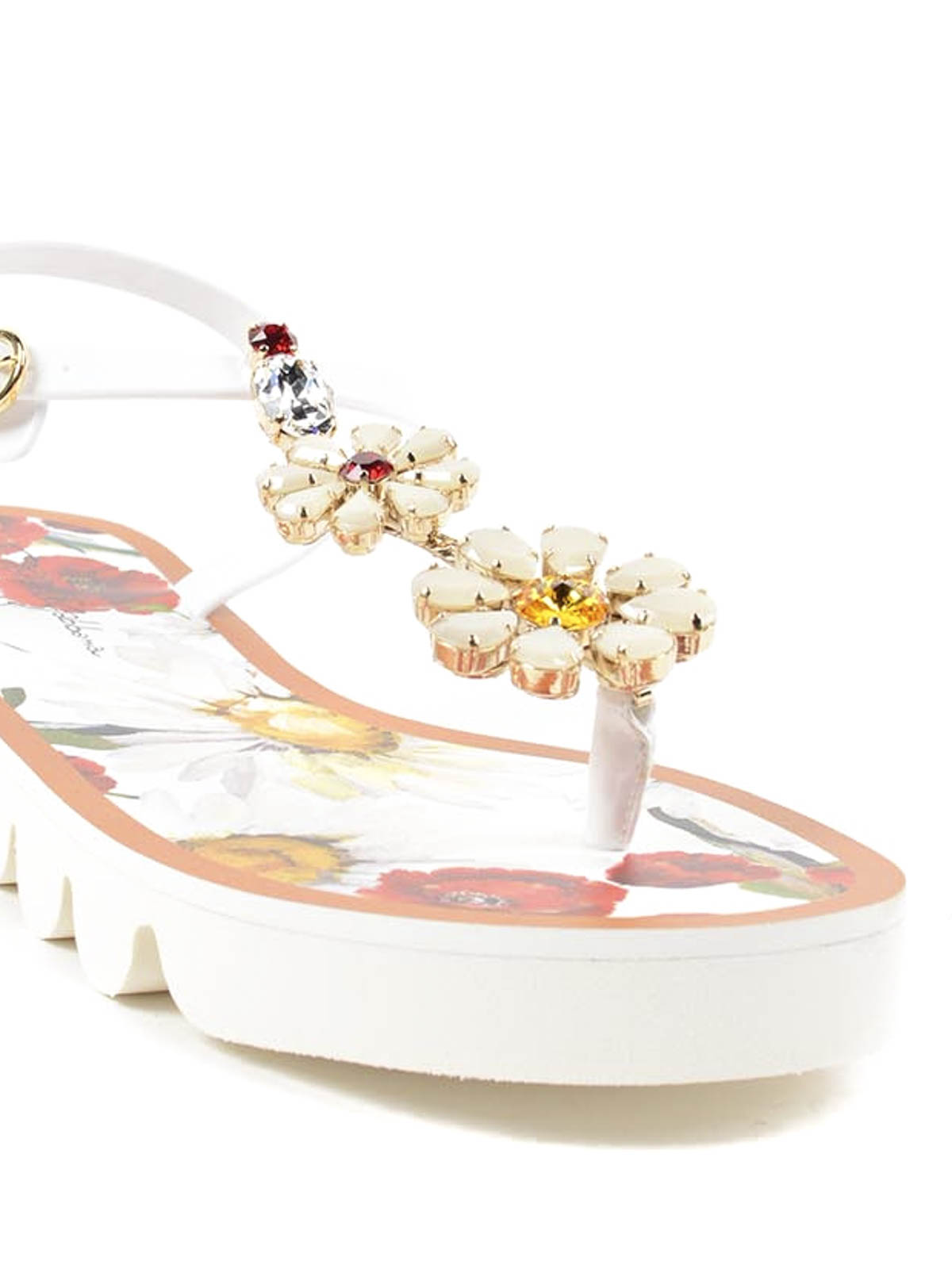 Rubber Thong Sandals With Flowers By Dolce Gabbana Flip Flops