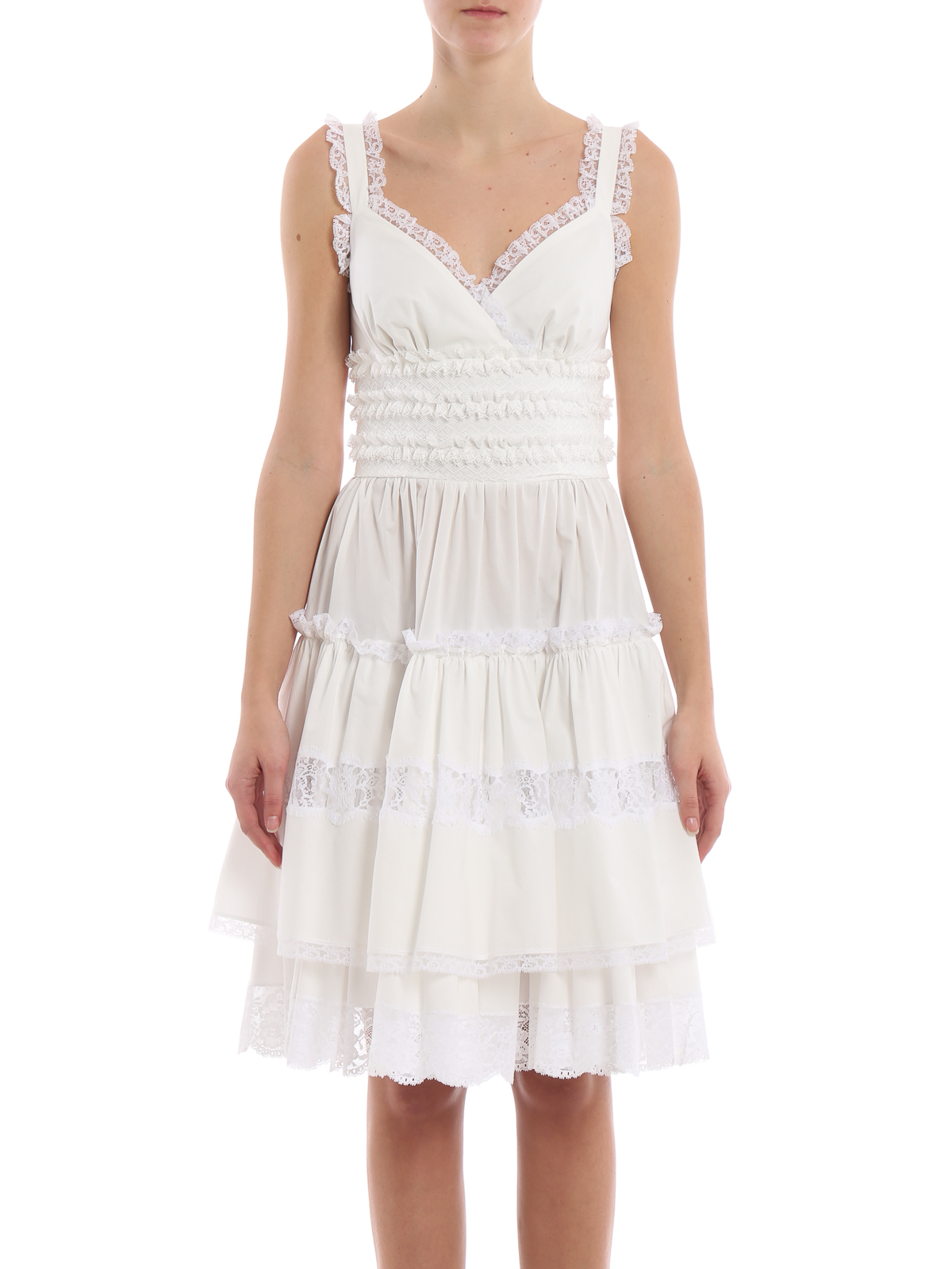 Dolce & Gabbana - Knielanges Kleid - Weiß - Knielange Kleider