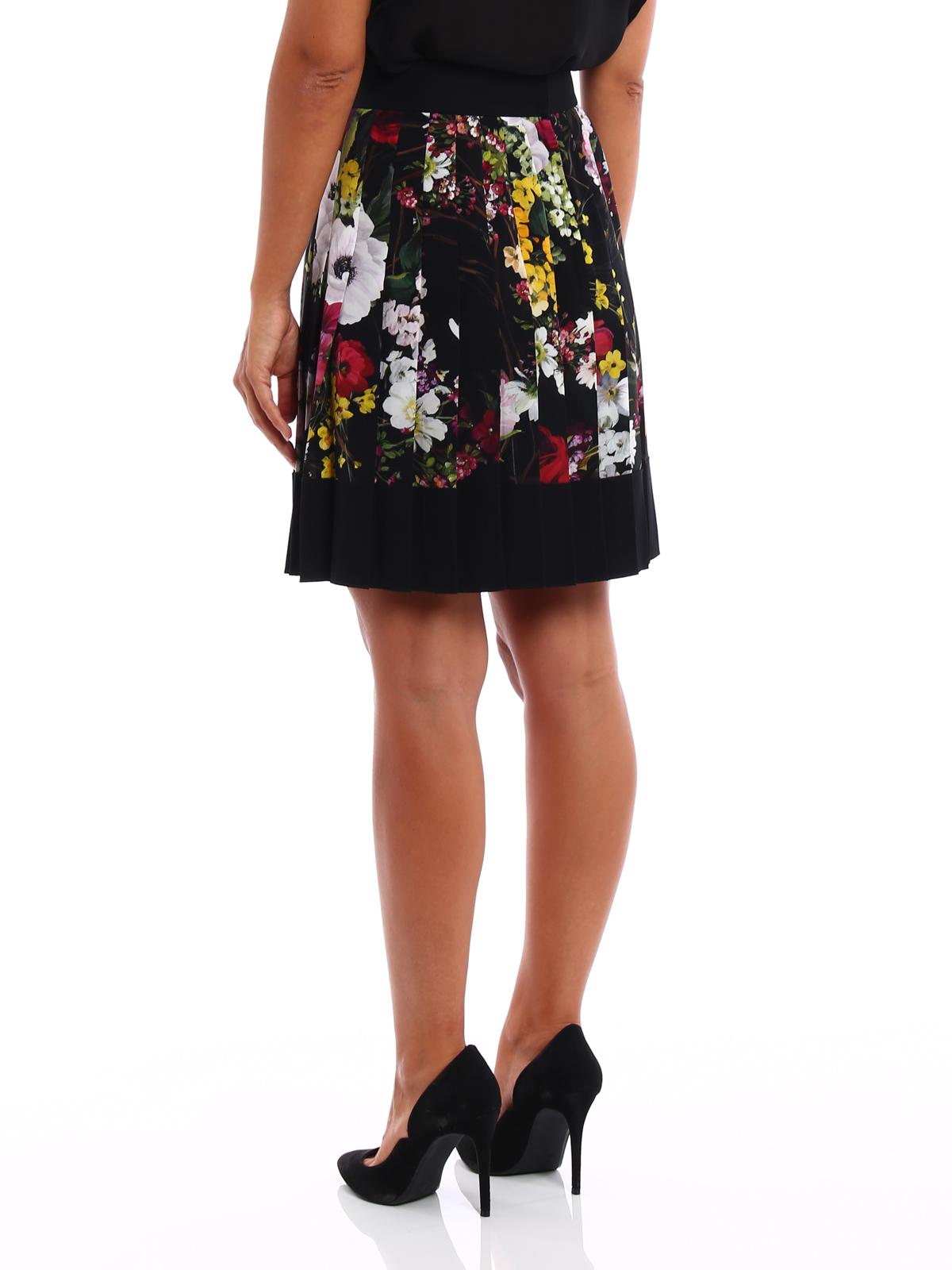 new styles de8ed 1812e Dolce & Gabbana - Gonna plissé in seta a fiori - gonne al ...