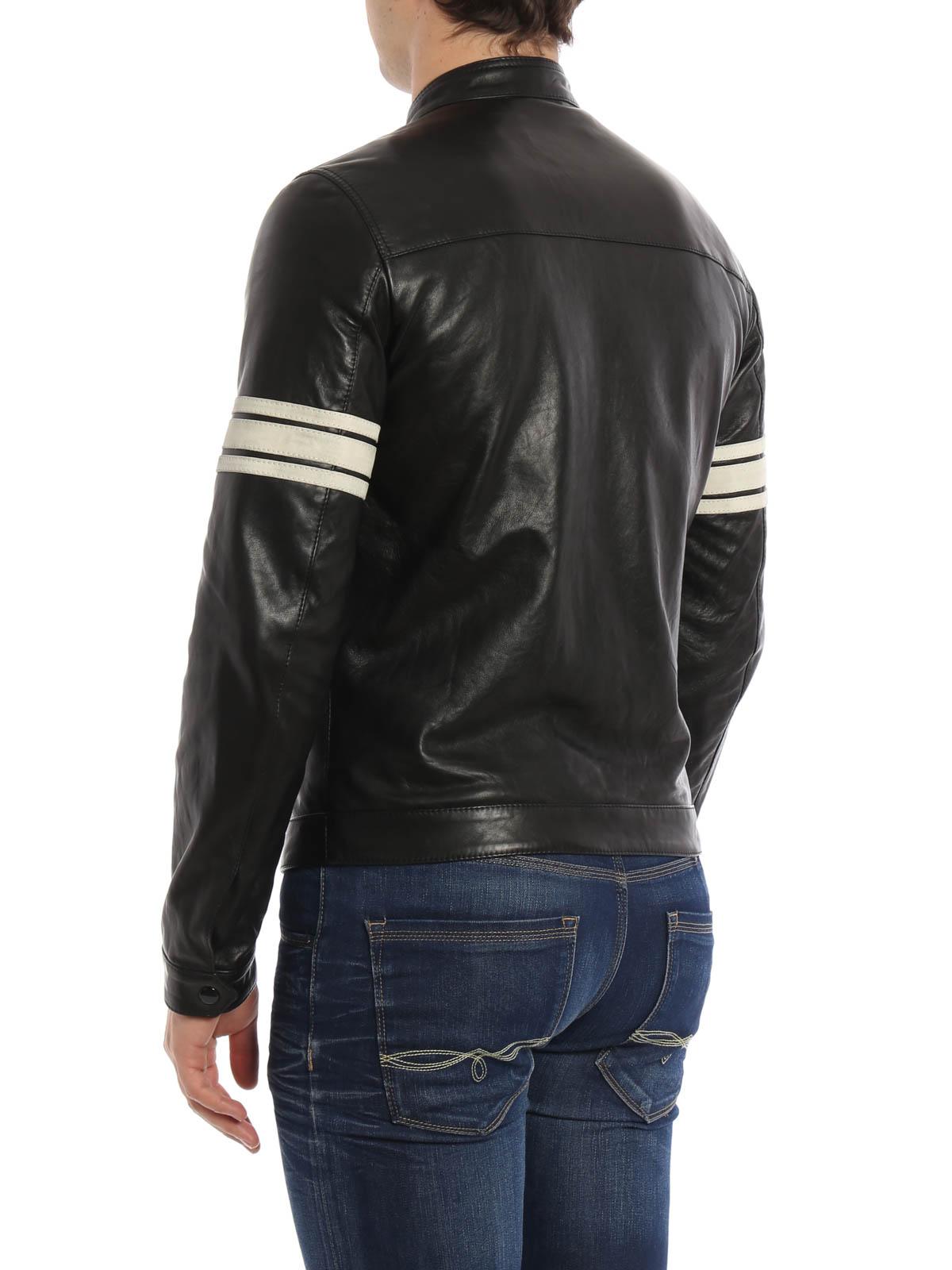 striped sleeves leather jacket by dolce gabbana leather jacket ikrix. Black Bedroom Furniture Sets. Home Design Ideas
