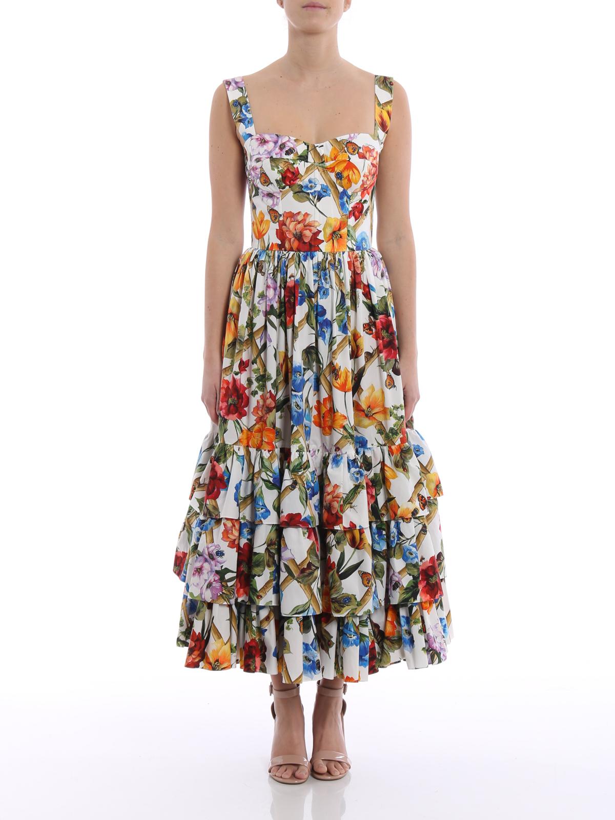 promo code 7aae0 6fdf2 Dolce & Gabbana - Abito midi in popeline a fiori - abiti ...