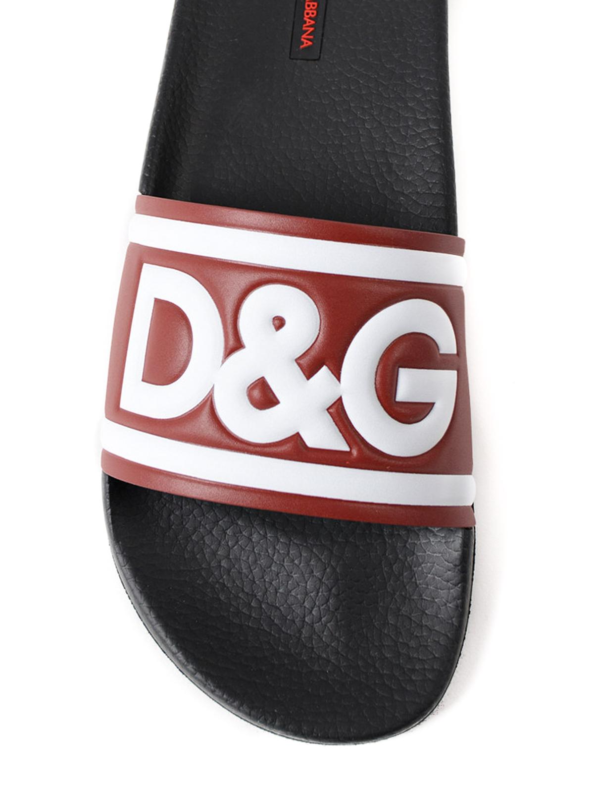 a89b4d7bff Dolce & Gabbana - Slides in pelle rossa con logo - sandali ...