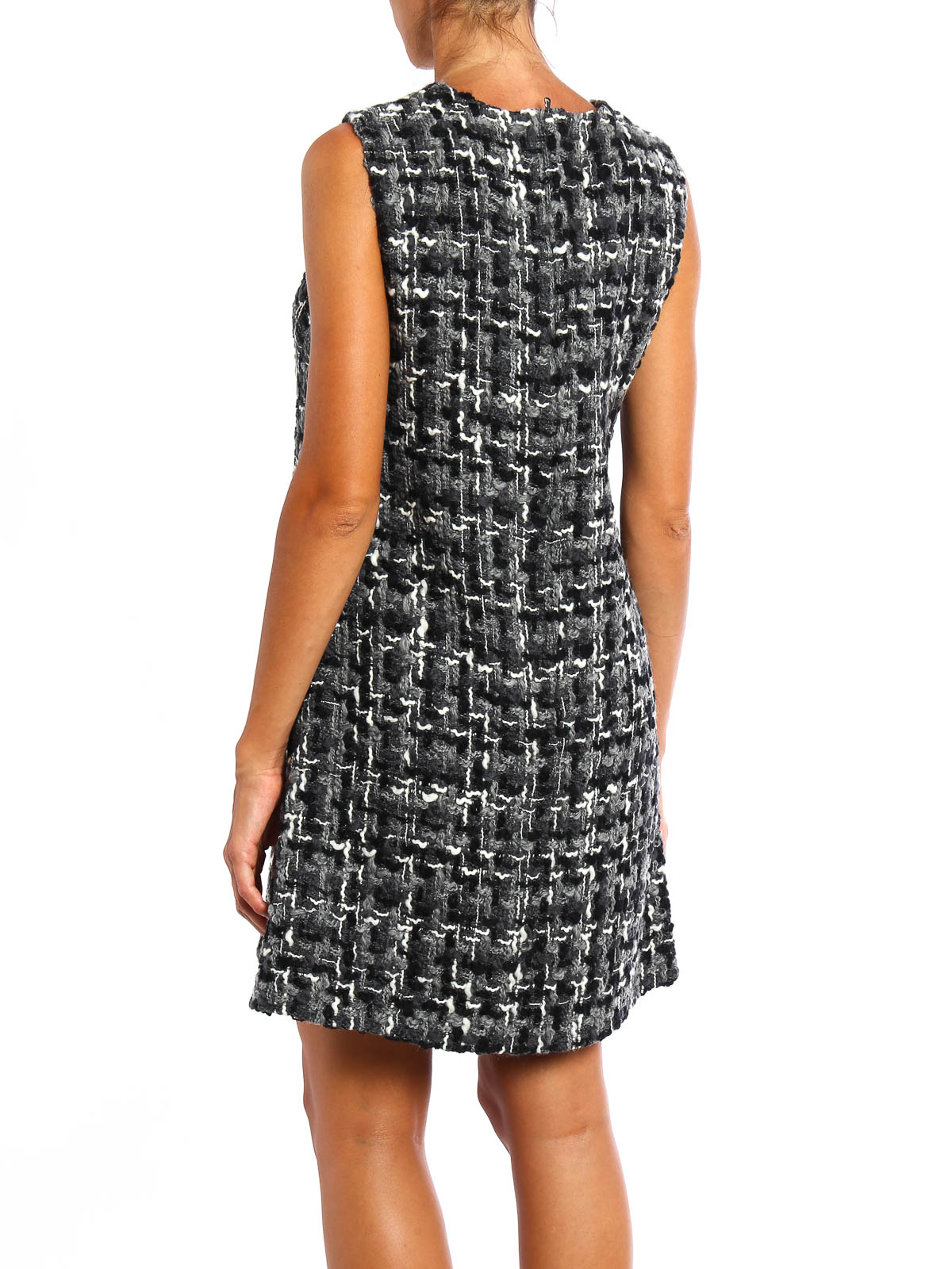 Dolce Amp Gabbana Sleeveless Wool Tweed Dress Short