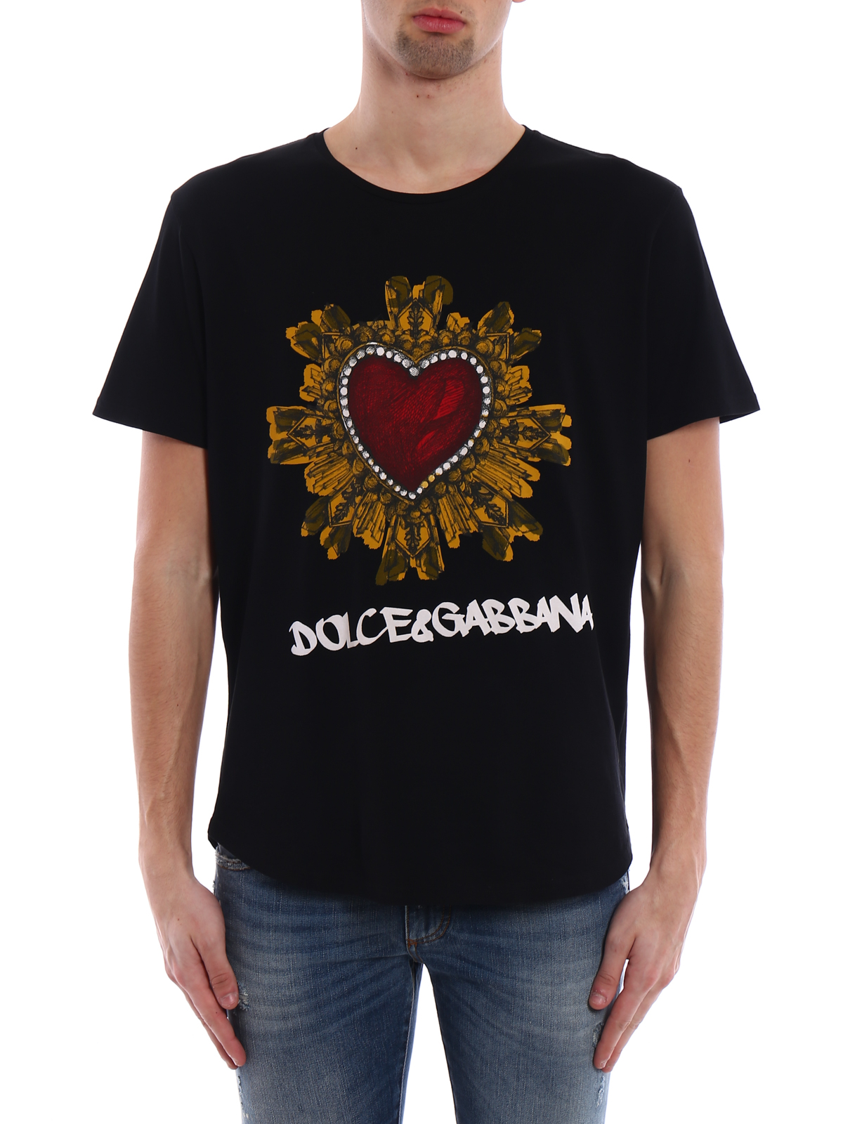 t shirt in cotone con stampa cuore dolce gabbana t shirt ikrix. Black Bedroom Furniture Sets. Home Design Ideas