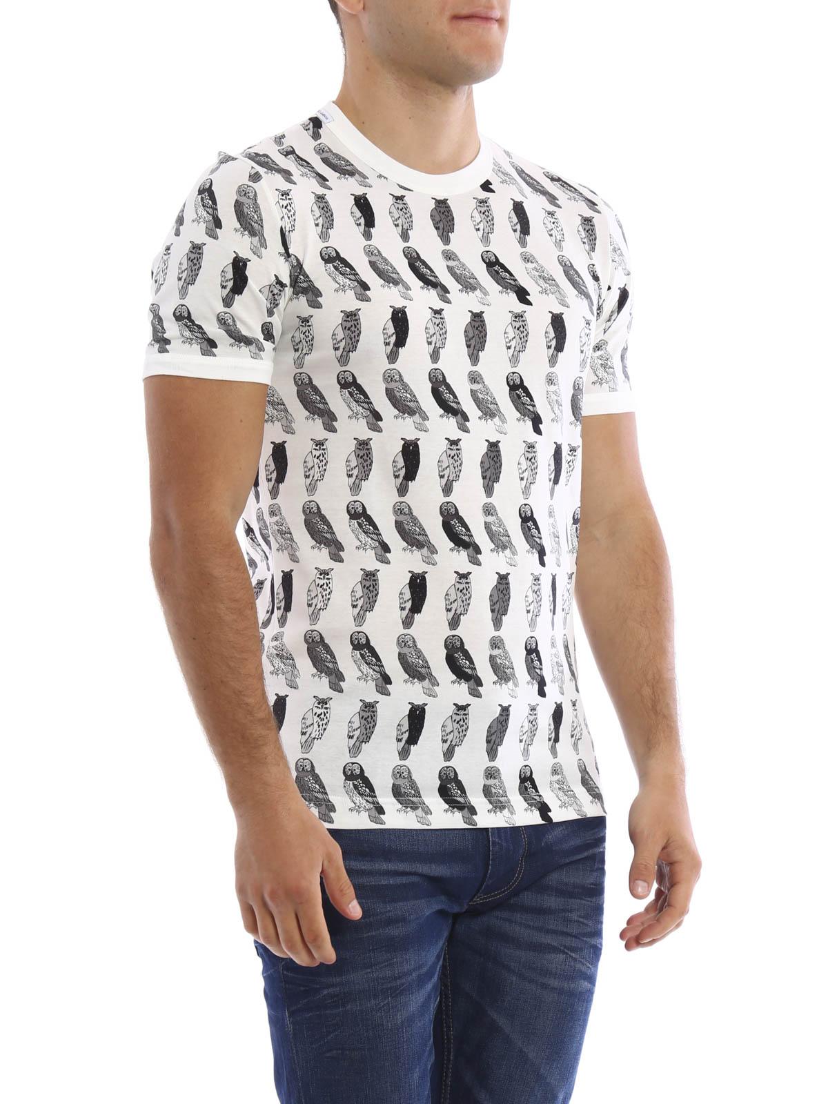 dolce gabbana owls print t shirt t shirts g8fv4t g7gios9000. Black Bedroom Furniture Sets. Home Design Ideas