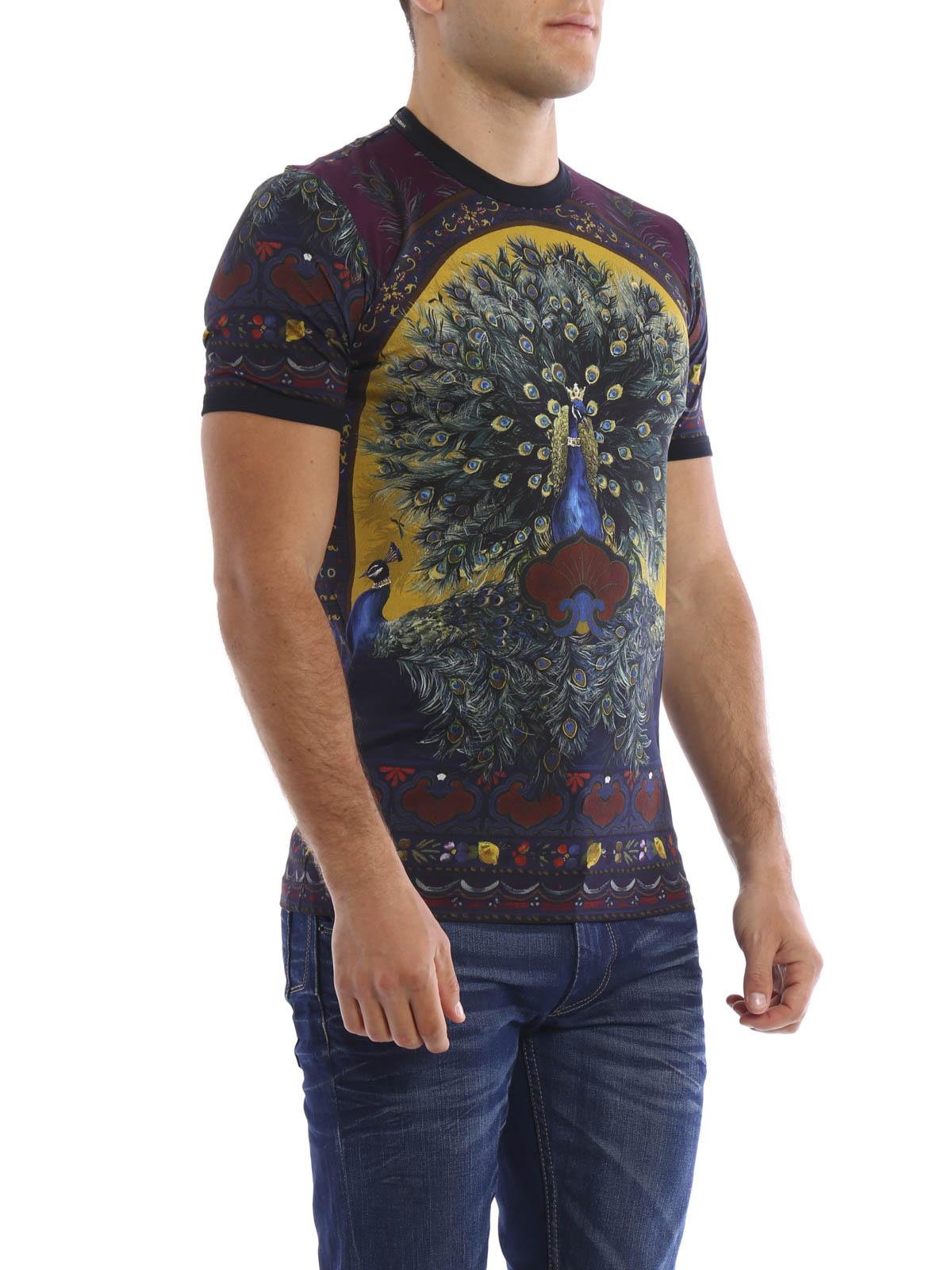 dolce gabbana peacock print t shirt t shirts g8fv4t fp7iox0860