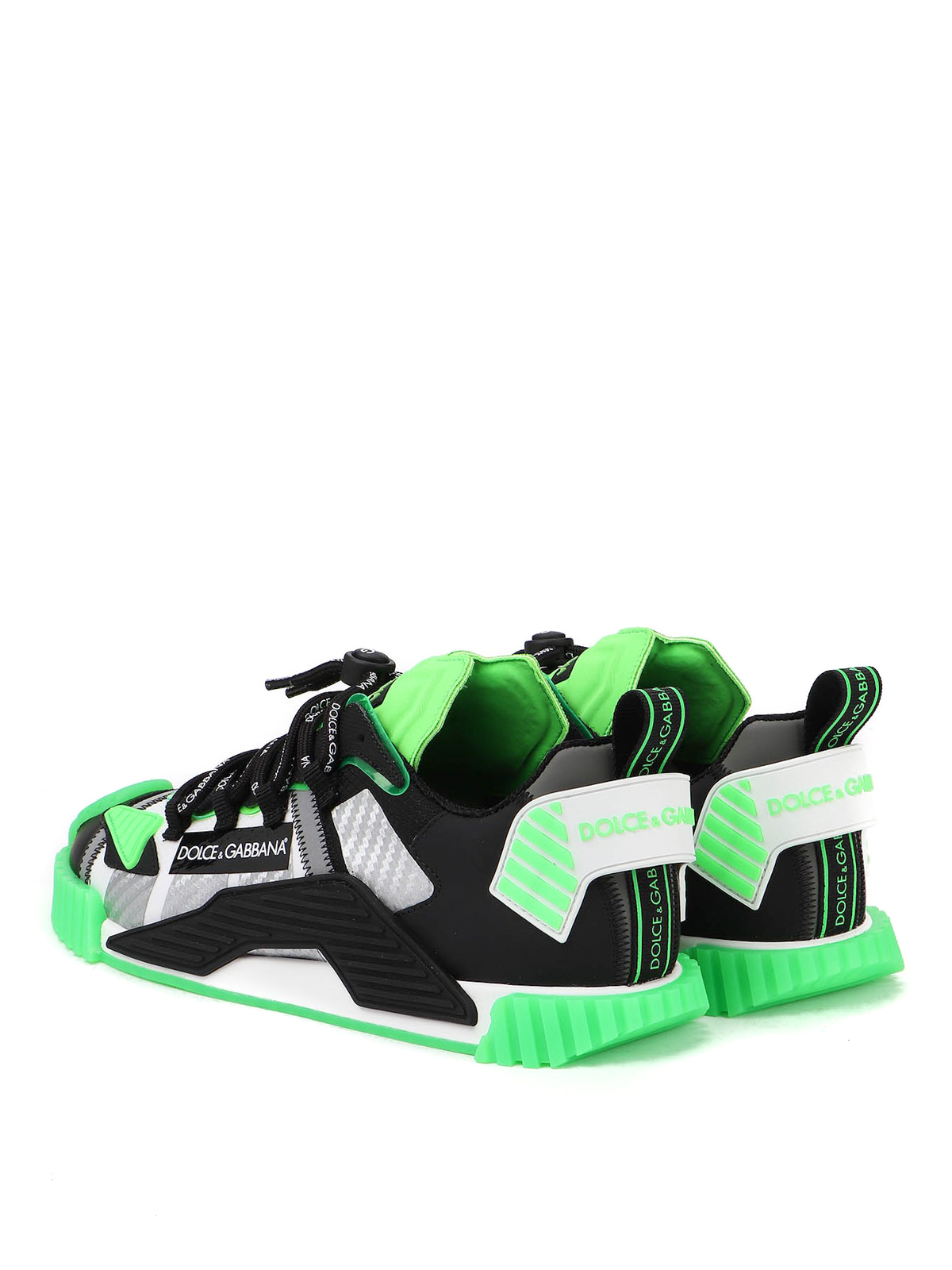 NS1 mixed materials neon sneakers