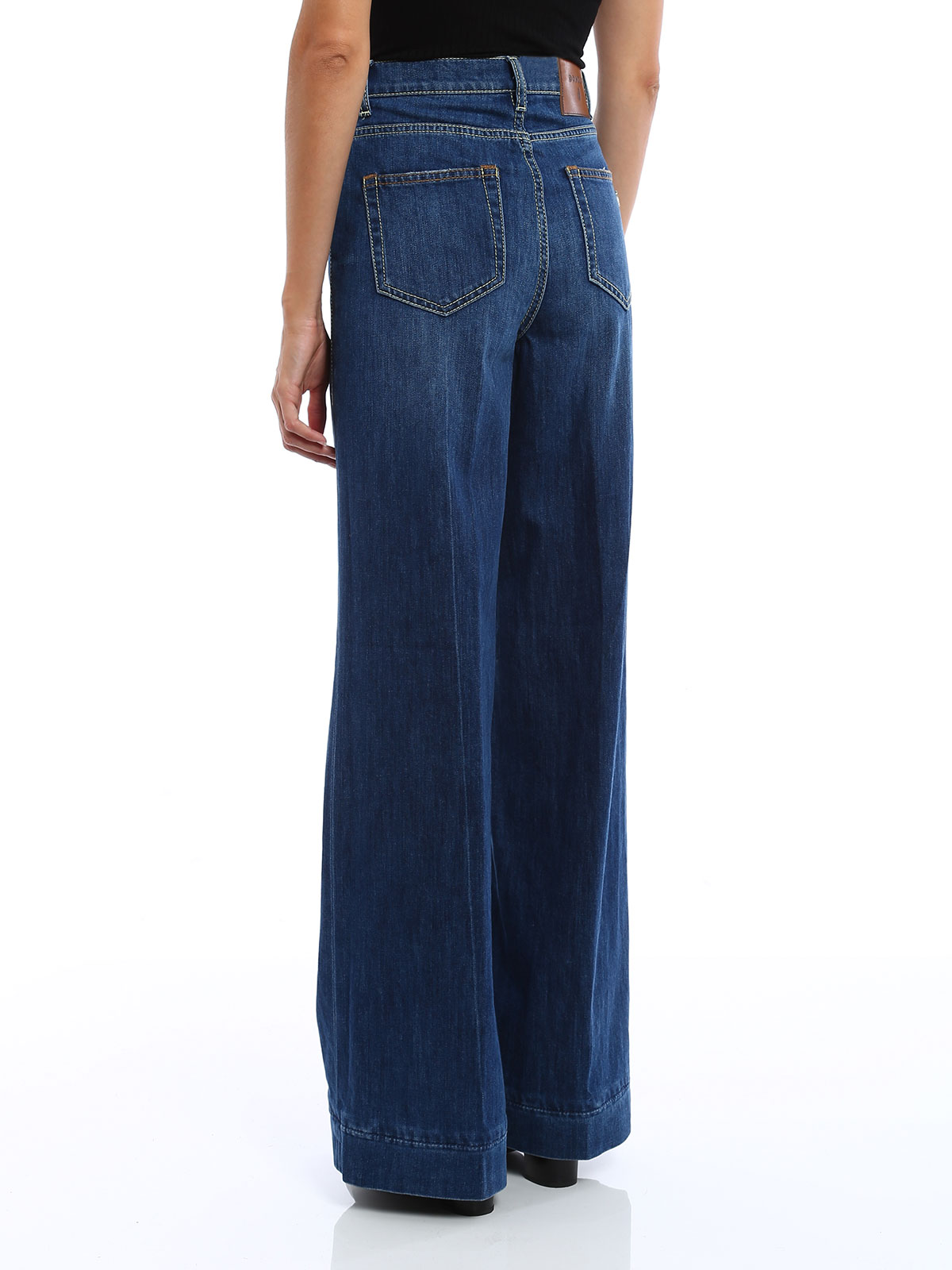 Dondup Supply Wide Leg Cotton Blend Jeans Straight Leg