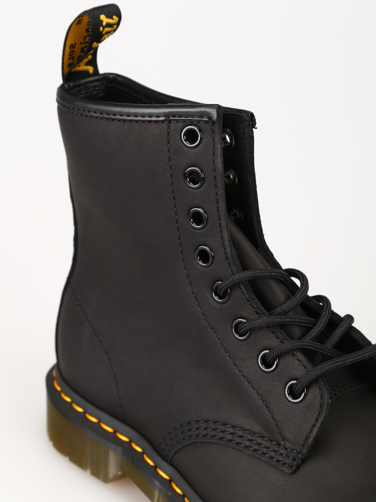 Greasy 1460 black leather combat boots