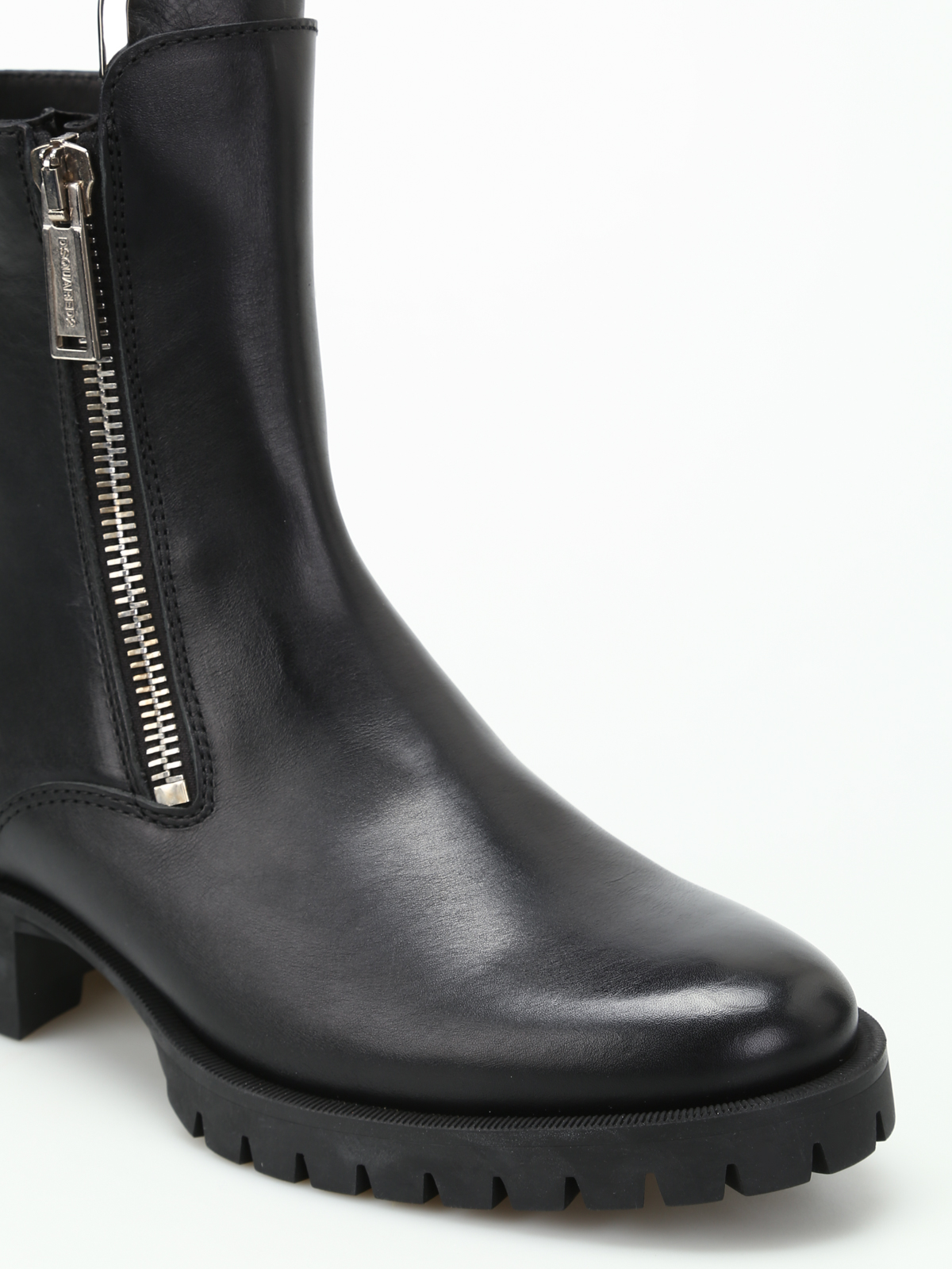 d0b2dc2f5d5821 Dsquared2 - Zip up black leather boots - ankle boots - W17BO101 015 2124