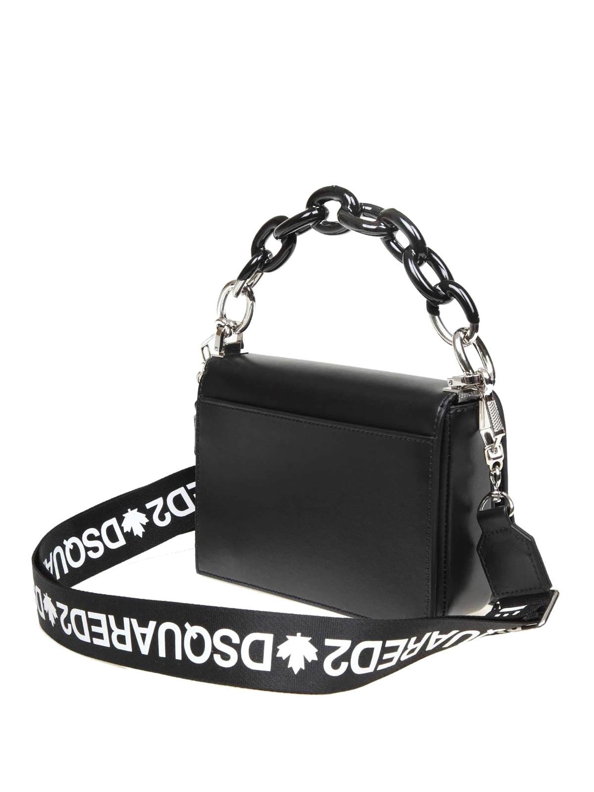 nuovo prodotto e717a 2eeaa Dsquared2 - Piccola borsa in pelle nera con logo D2 - borse ...