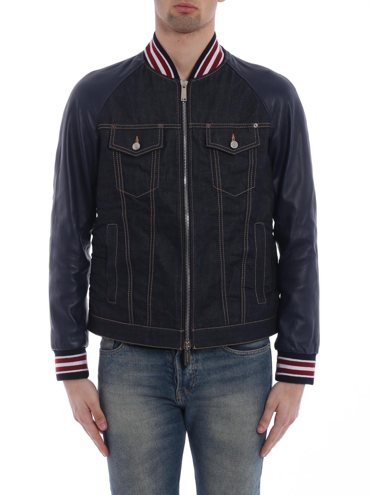 1291eeaef Dsquared2 - Denim leather sleeve bomber jacket - denim jacket ...