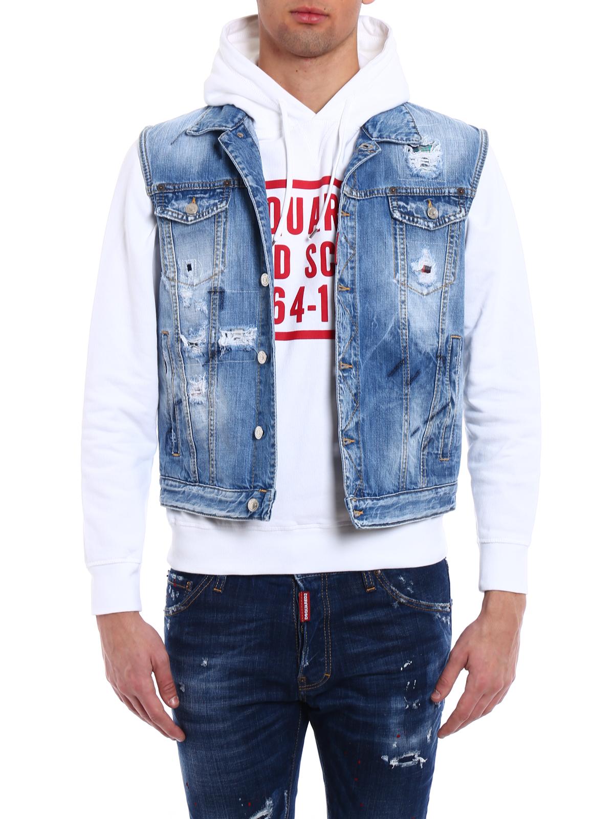 best service a6a06 e6be8 Dsquared2 - Gilet di jeans con aspetto vissuto - giacche ...