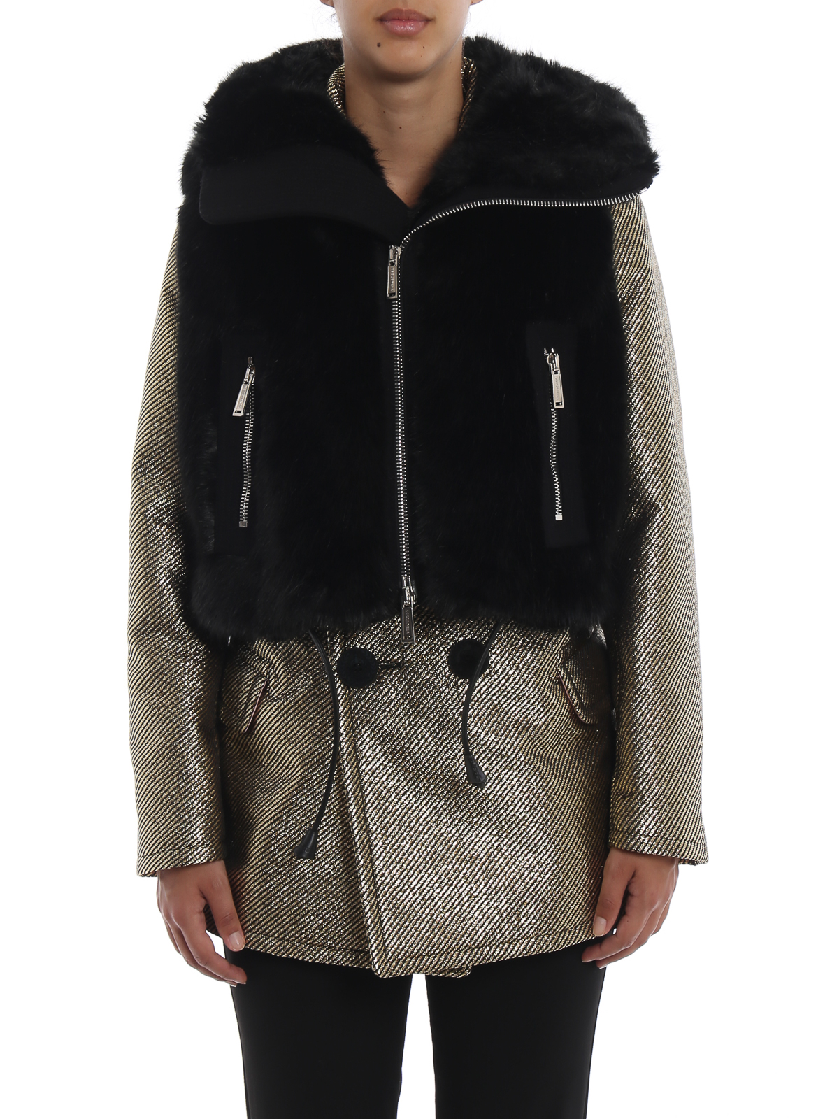 a5d4cac834 Dsquared2 - Faux fur vest with maxi collar and zip - Fur & Shearling ...