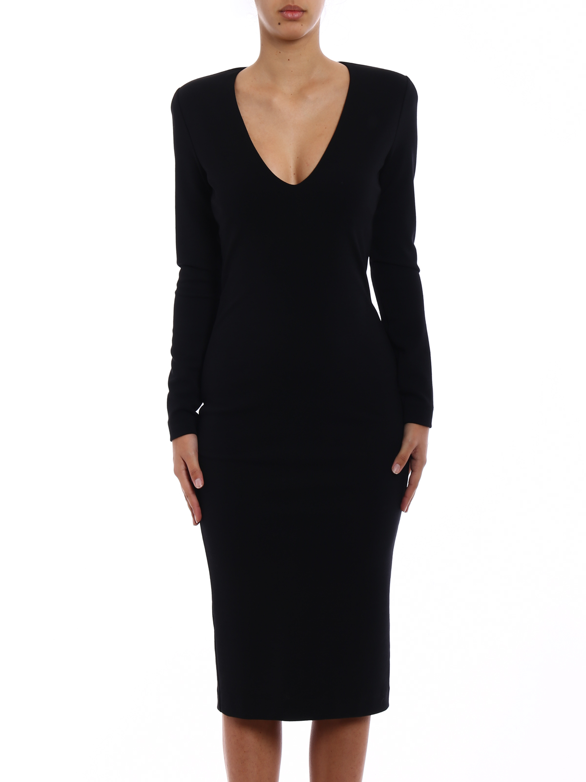 6fb3456ee8b9 DSQUARED2  knee length dresses online - Black wool blend midi dress