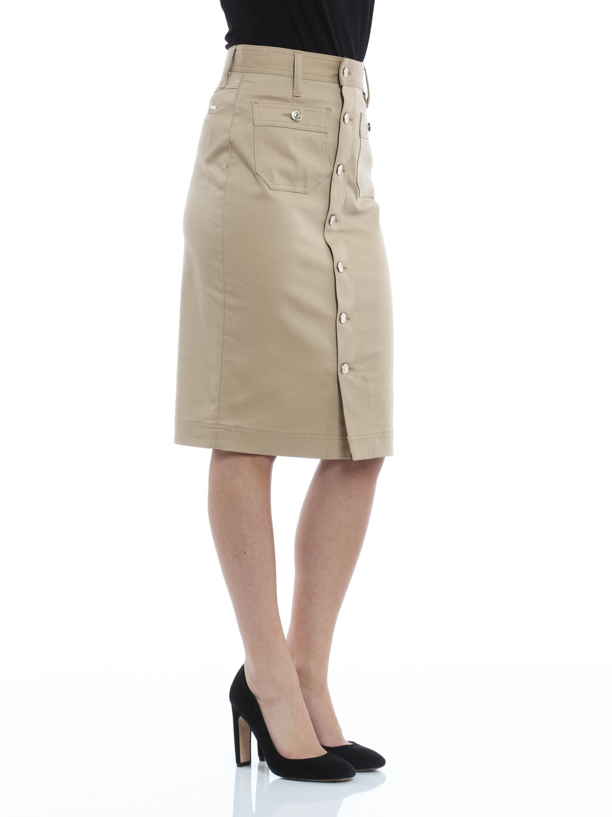 stretch cotton skirt by dsquared2 knee length skirts