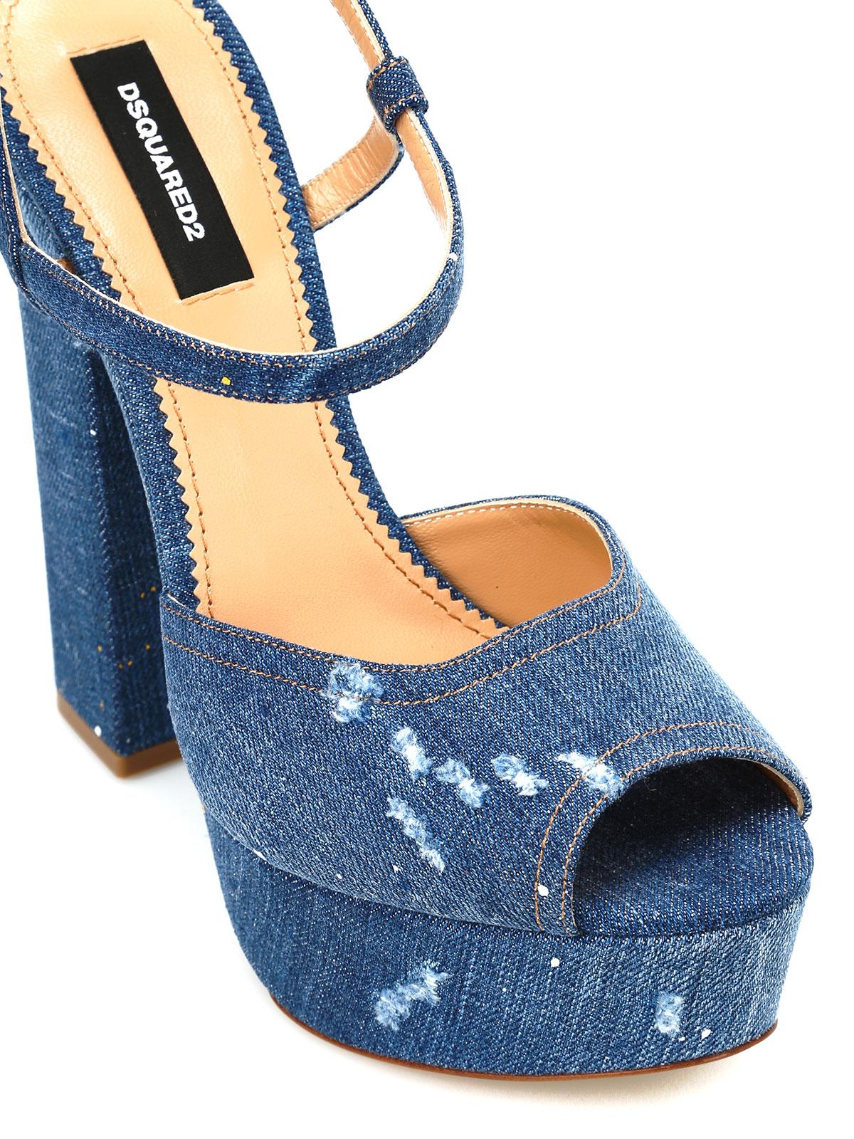 Sandales En Denim Dsquared2 - Bleu 5a8rAfD