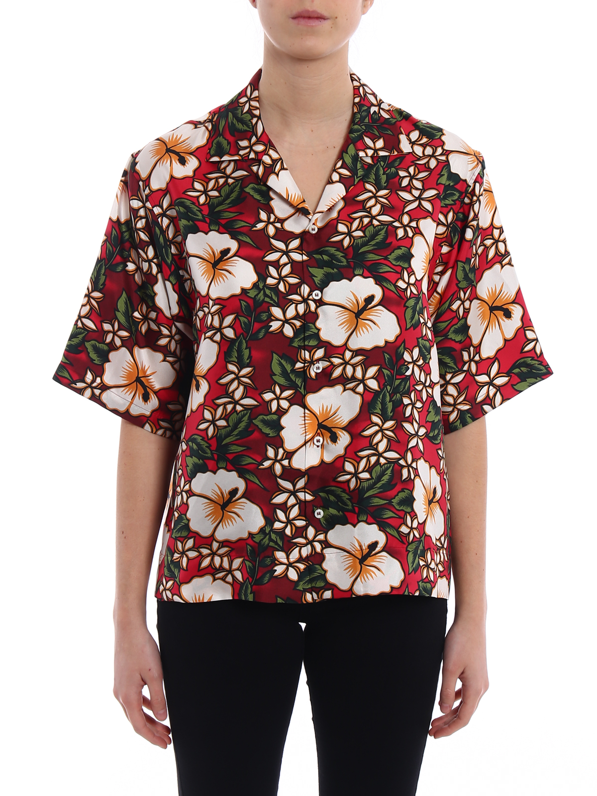 Hibiscus silk shirt Dsquared2 100% Authentic For Sale Clearance 2018 Outlet Store Locations Free Shipping Shopping Online For Nice For Sale 177UWtBZJi