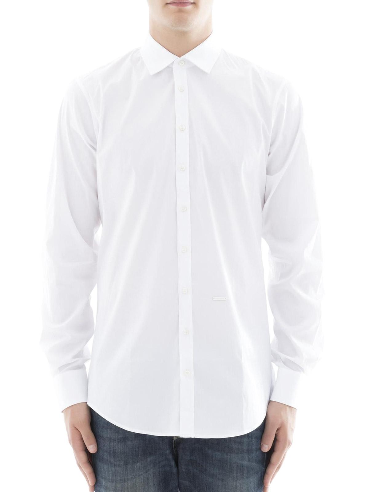 DSQUARED2  camicie online - Camicia bianca in cotone stretch 4bfc720ac03c