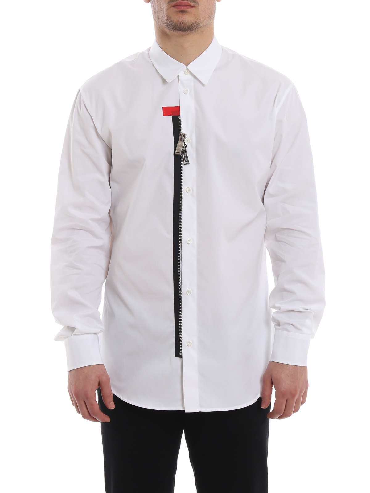a1858627d1f2be Dsquared2 - Zip detail white cotton shirt - shirts - S74DM0195S36275100