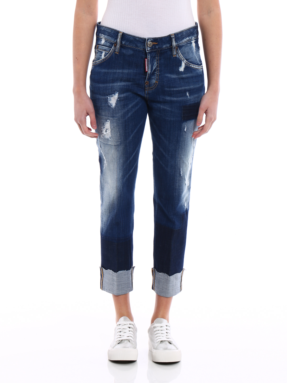 iKRIX Dsquared2: straight leg jeans - Cool Girl dark wash cropped jeans