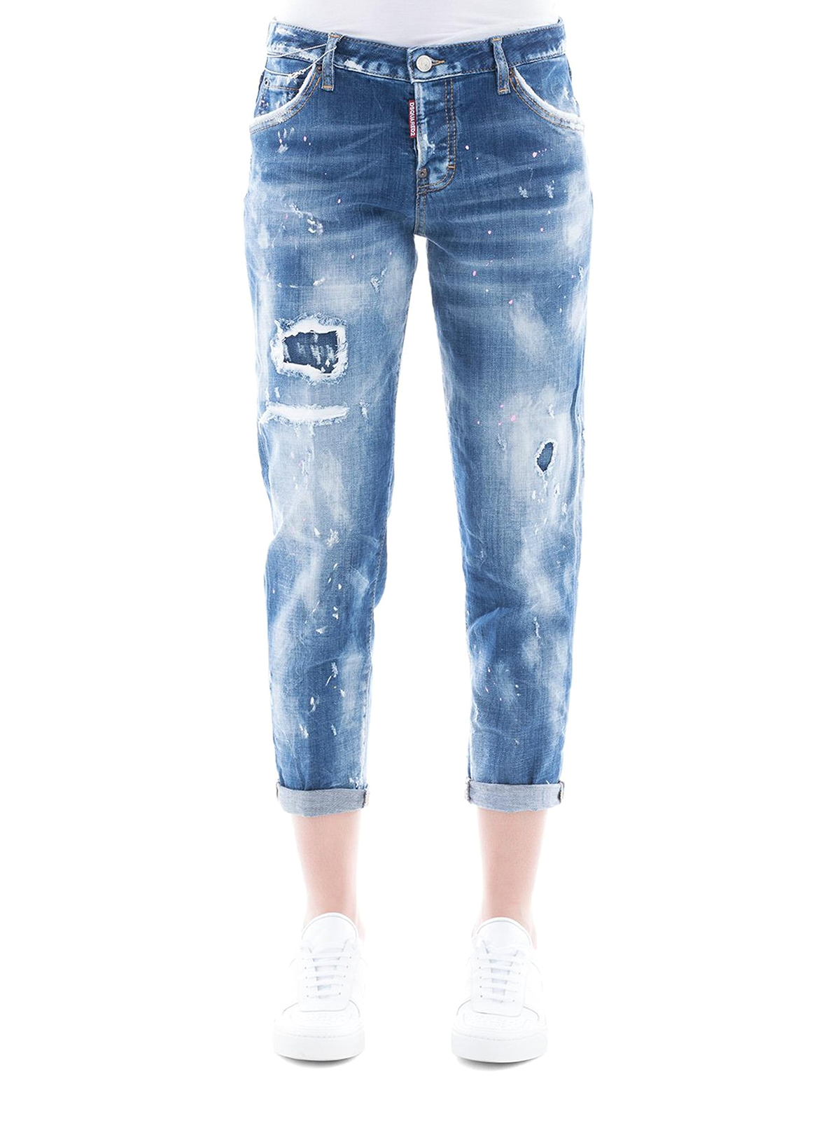 f967a030f66d0 iKRIX DSQUARED2: straight leg jeans - Ripped Jennifer Cropped denim jeans