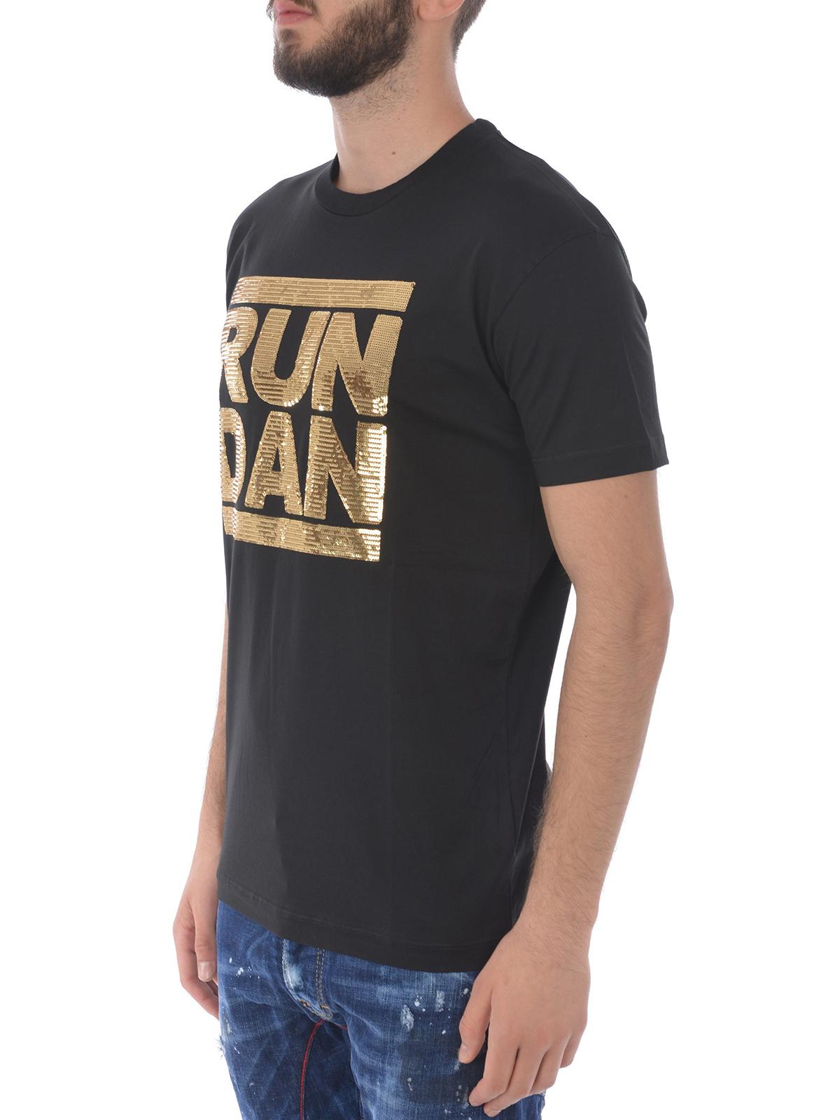 reputable site 817cc f7ca4 Dsquared2 - T-shirt nera con Run Dan in paillettes oro - t ...