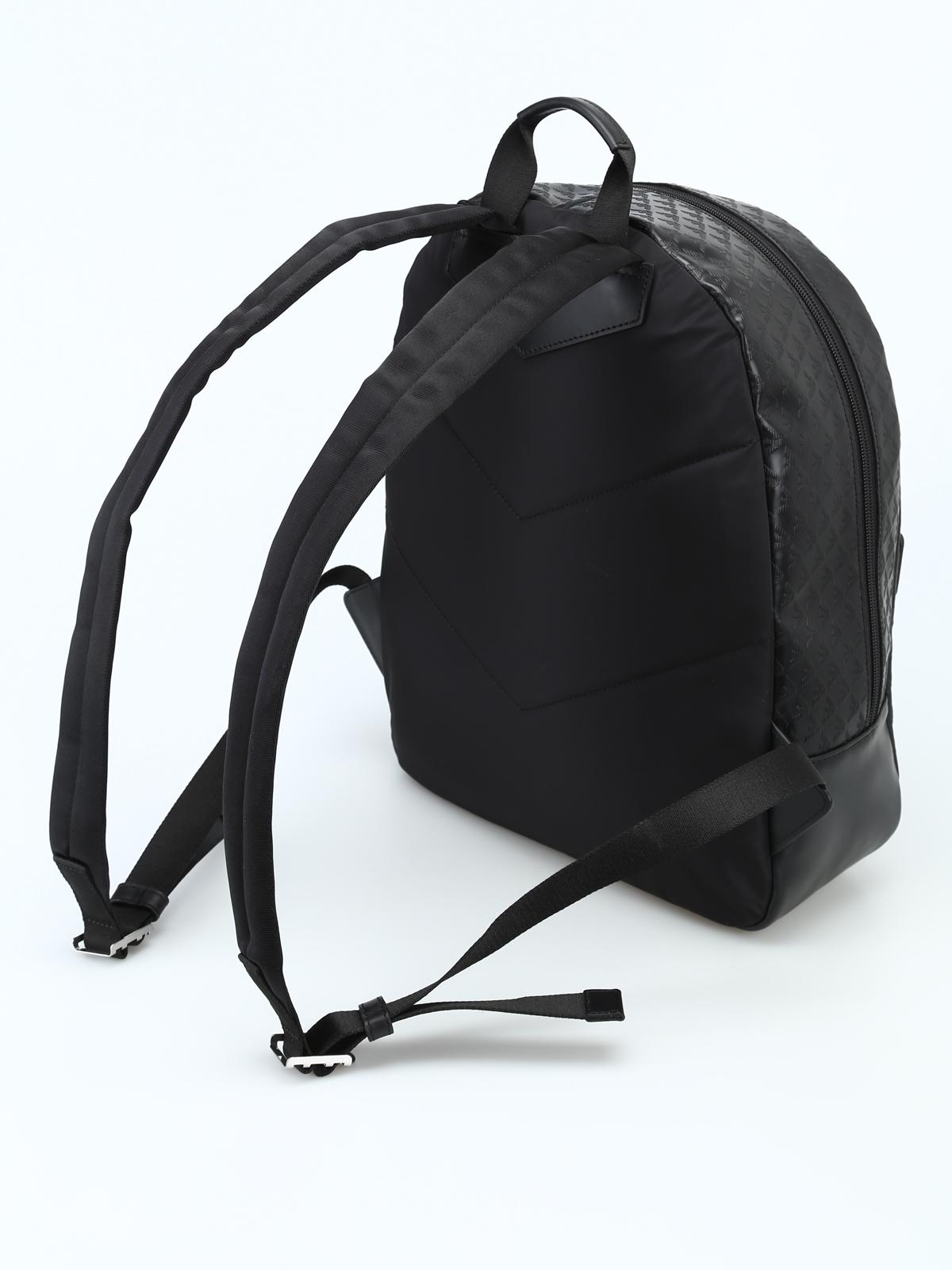 e34a17f55d iKRIX EMPORIO ARMANI: zaini - Zaino nero in pelle con stampa logo all over