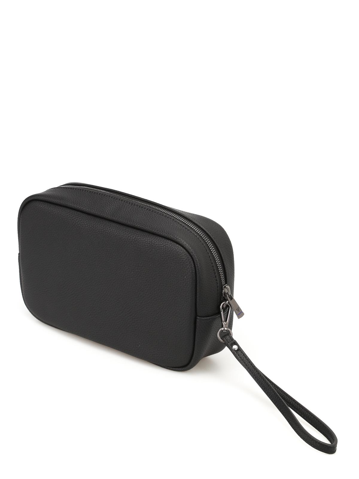 24c396b9b1 Emporio Armani - Clutch in similpelle nera con logo - pochette ...