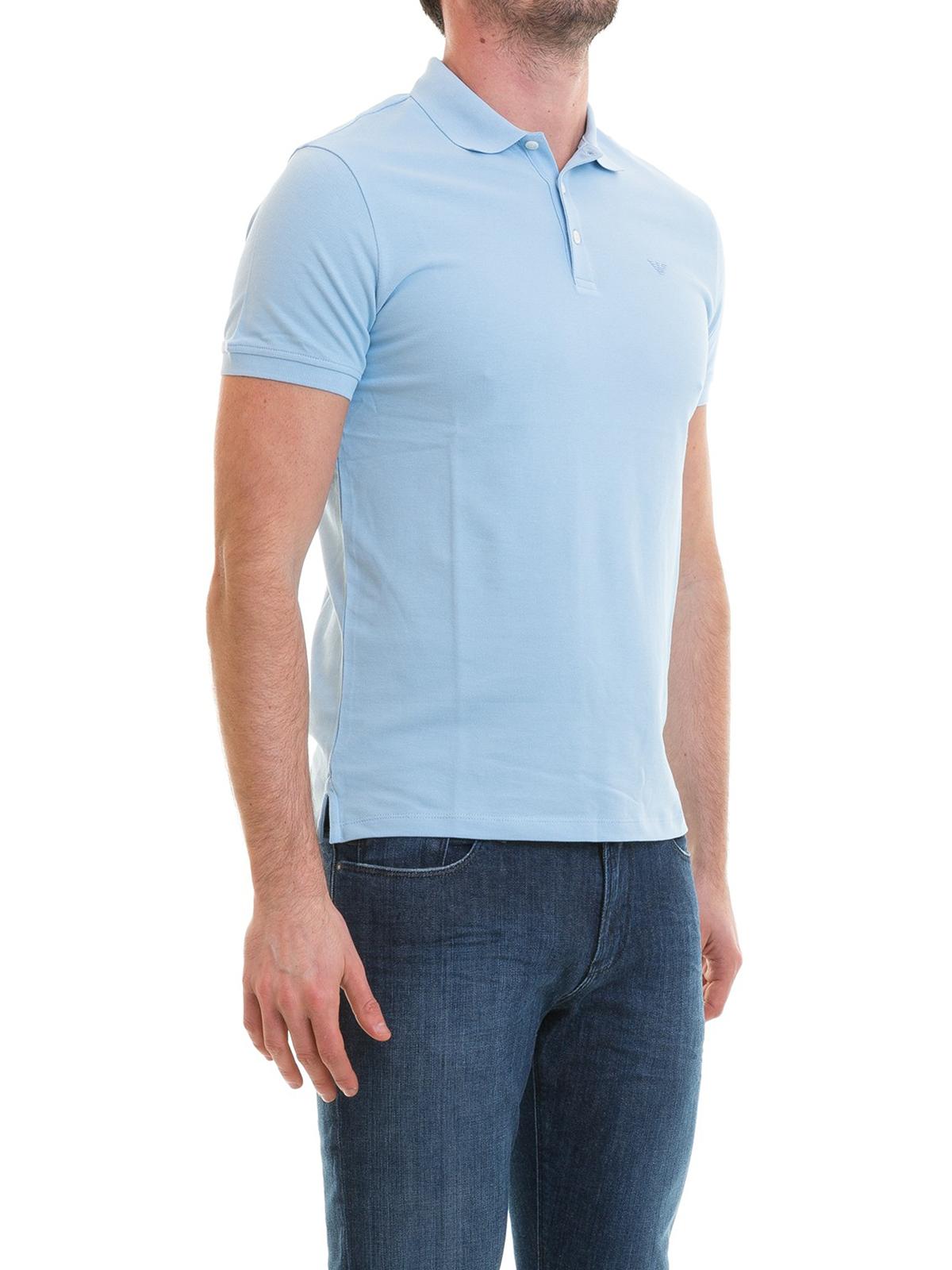 acc61805 iKRIX EMPORIO ARMANI: polo shirts - Tonal logo light blue polo shirt