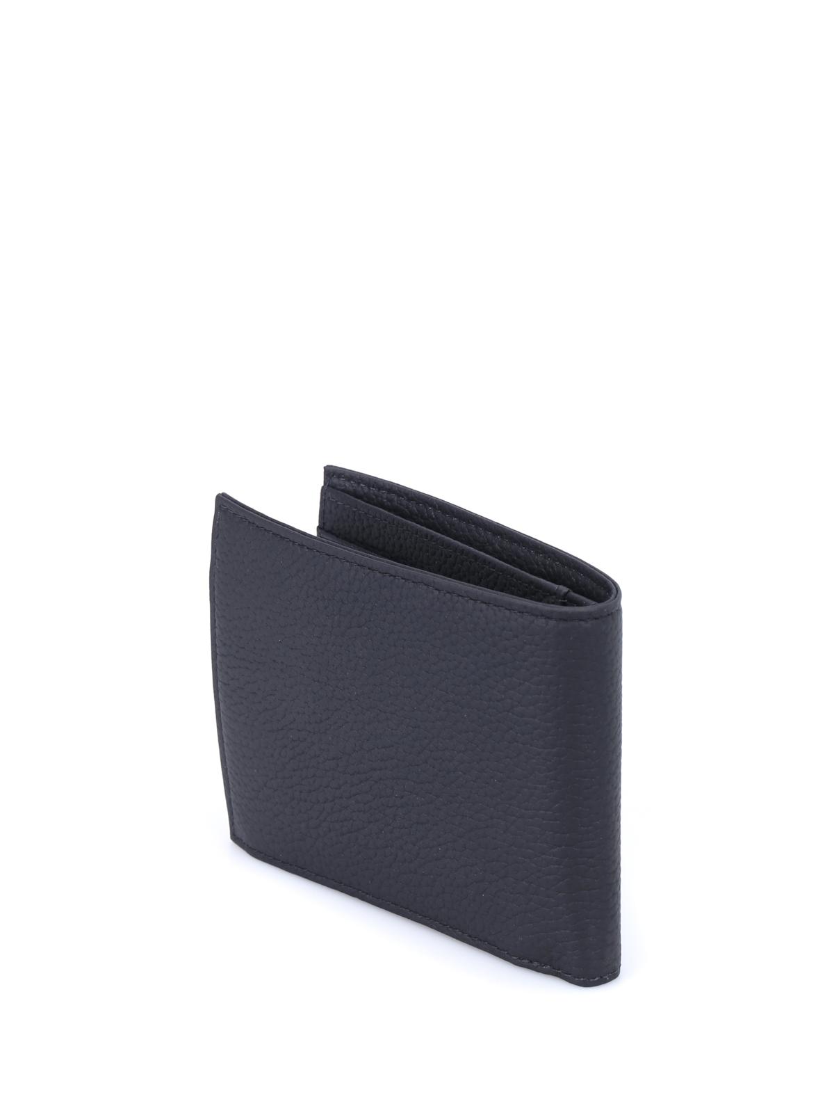 f656870c6f Emporio Armani - Black grainy leather bi-fold wallet - wallets ...