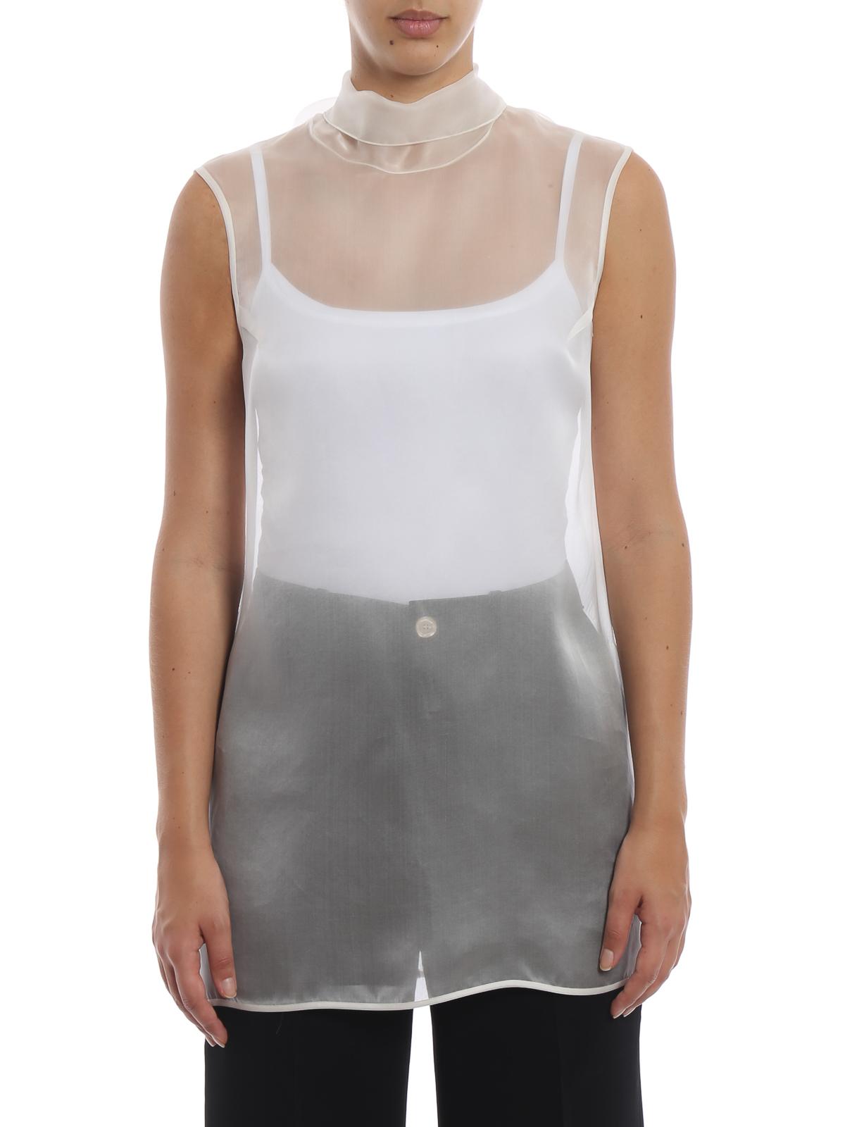 f84a52e4d87af5 iKRIX ERMANNO SCERVINO  blouses - Sheer off white silk organza blouse