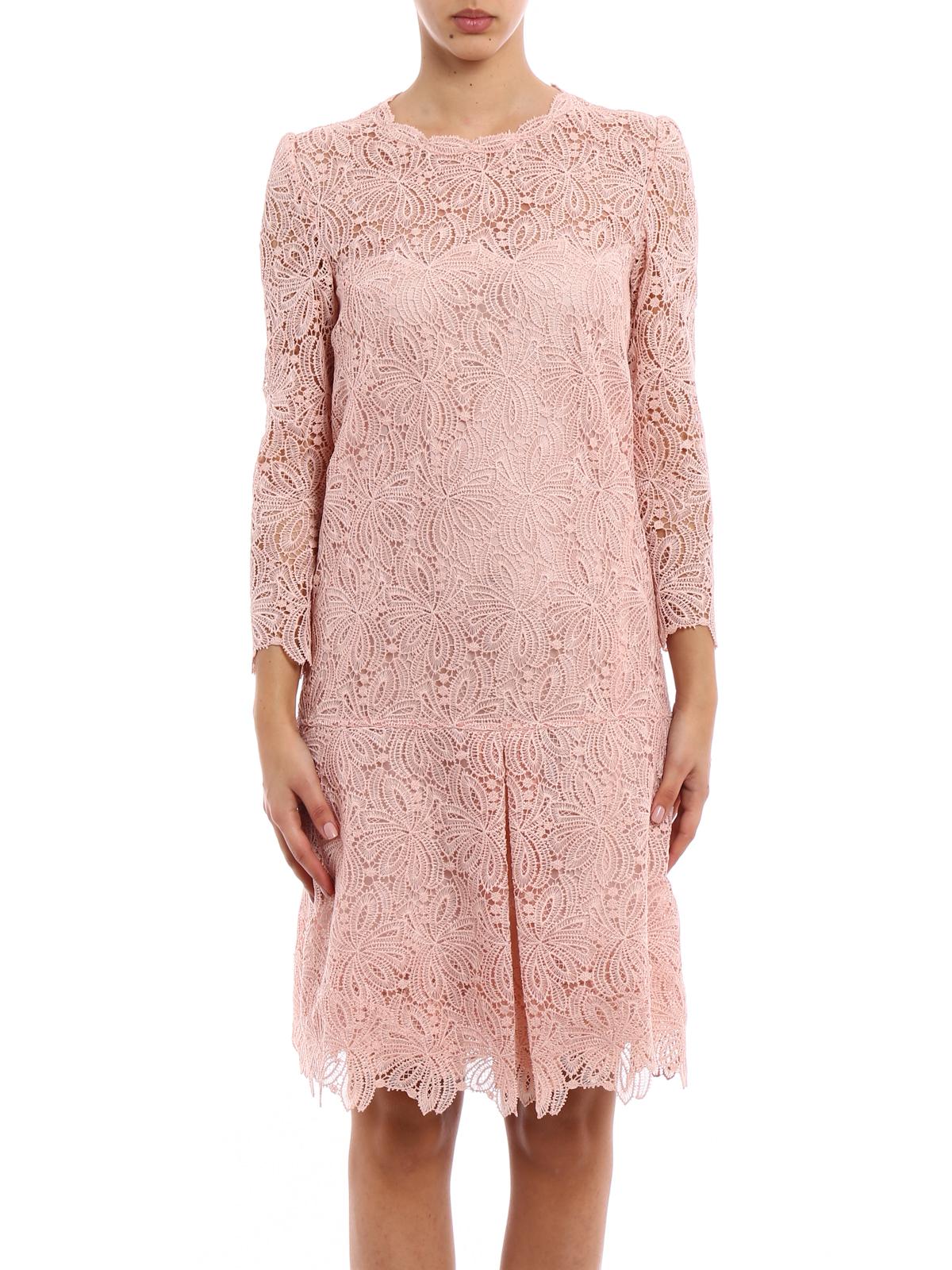 quality design ef687 a3190 Ermanno Scervino - Abito in pizzo rosa antico - abiti da ...