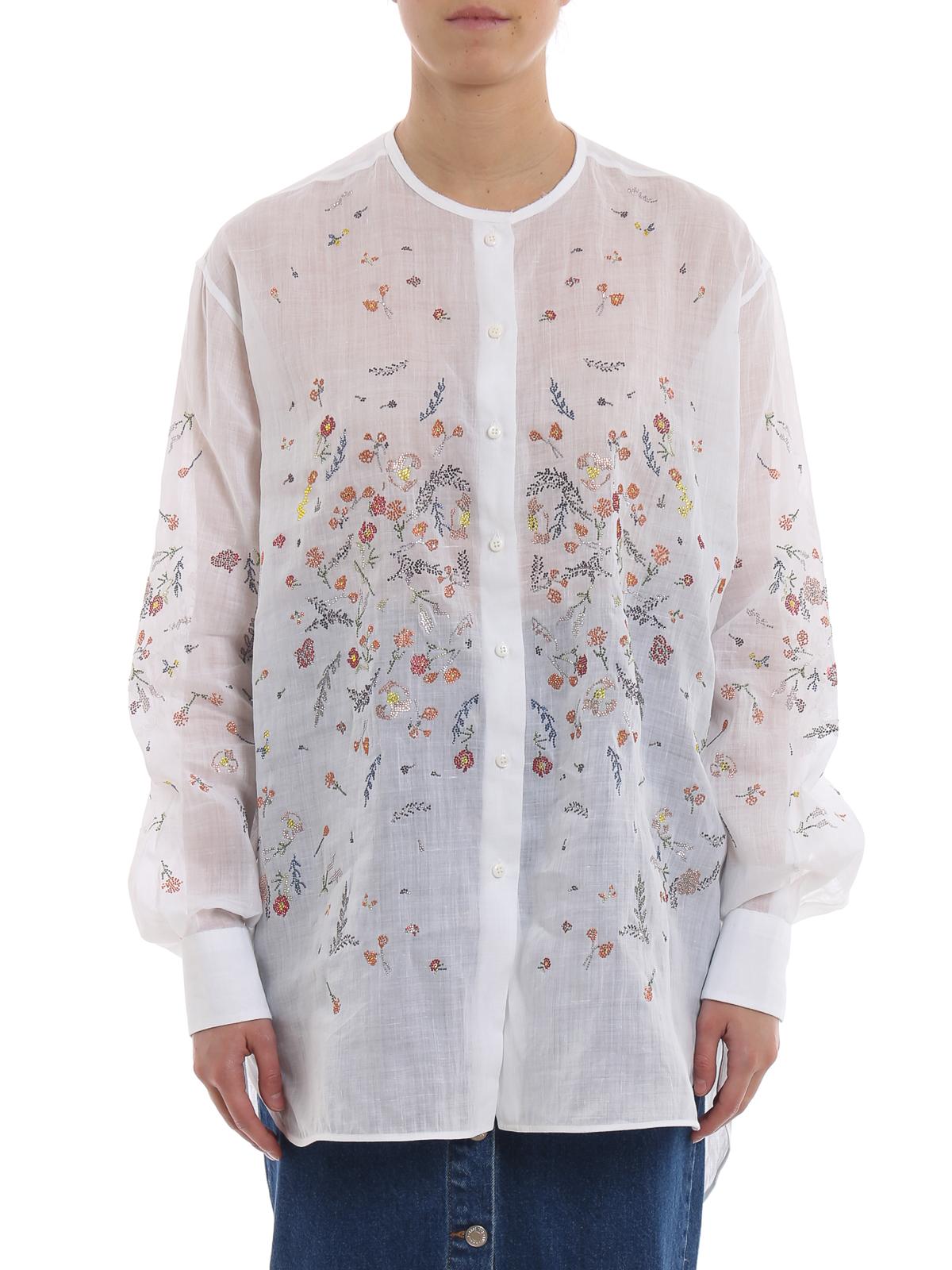 8887e7d166 Ermanno Scervino - Camicia in ramia con applicazioni floreali ...