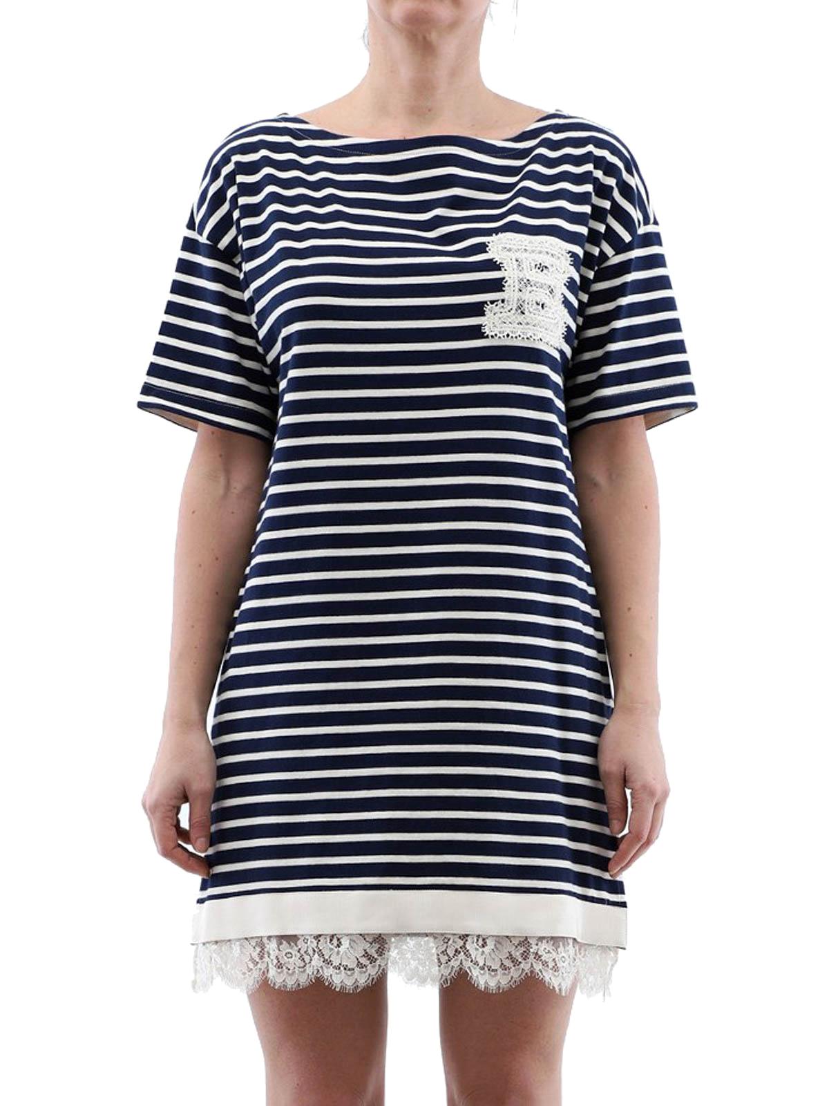 26d9e8ee5251 iKRIX ERMANNO SCERVINO  short dresses - Lace trimmed striped cotton dress