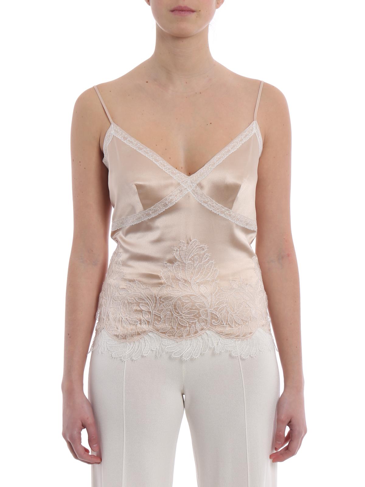 lace trim satin shirt - Nude & Neutrals Ermanno Scervino Big Sale Online rXBvjJl