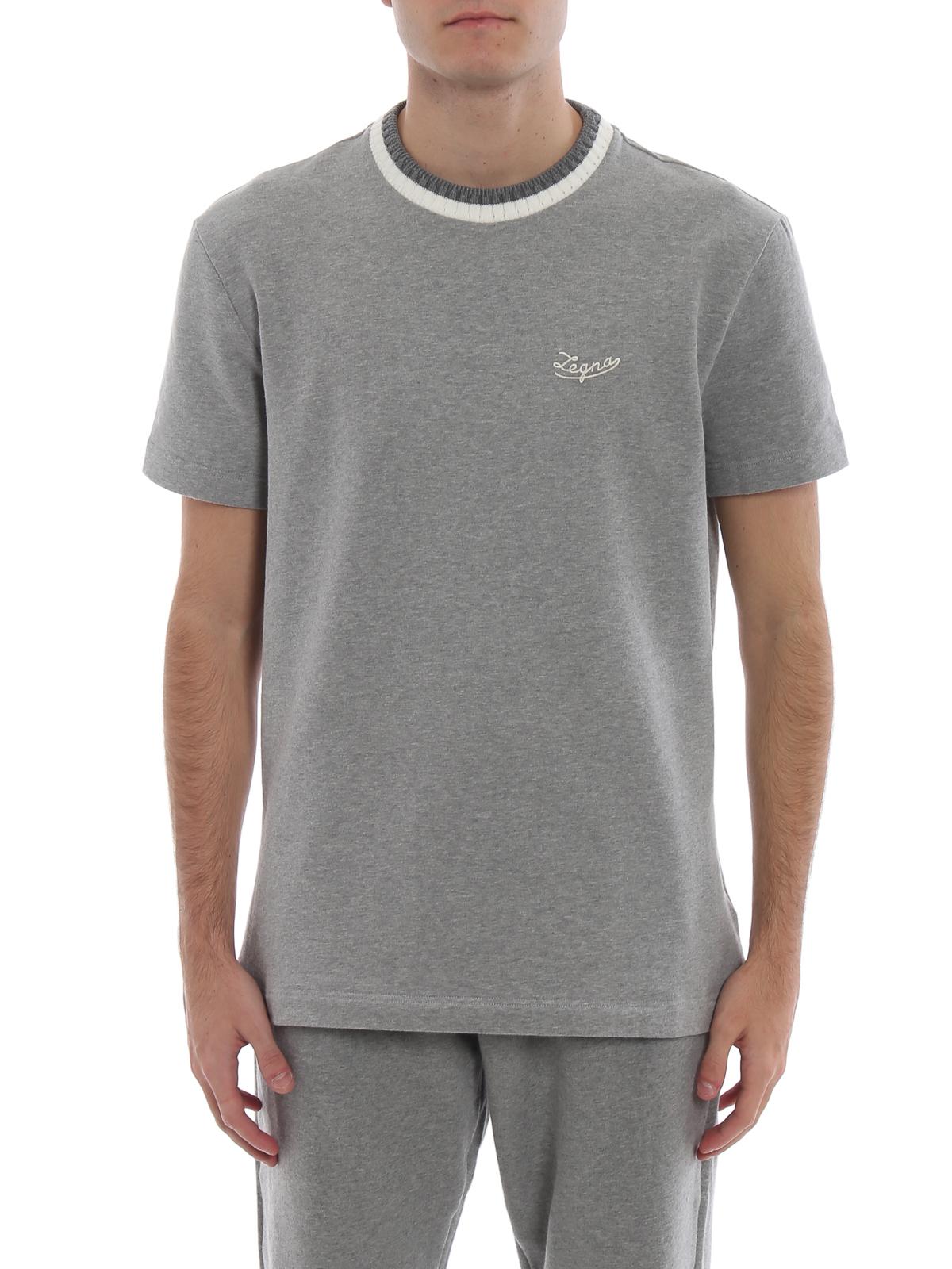 23730eaf Ermenegildo Zegna - Cotton fleece short sleeve grey T-shirt - t ...