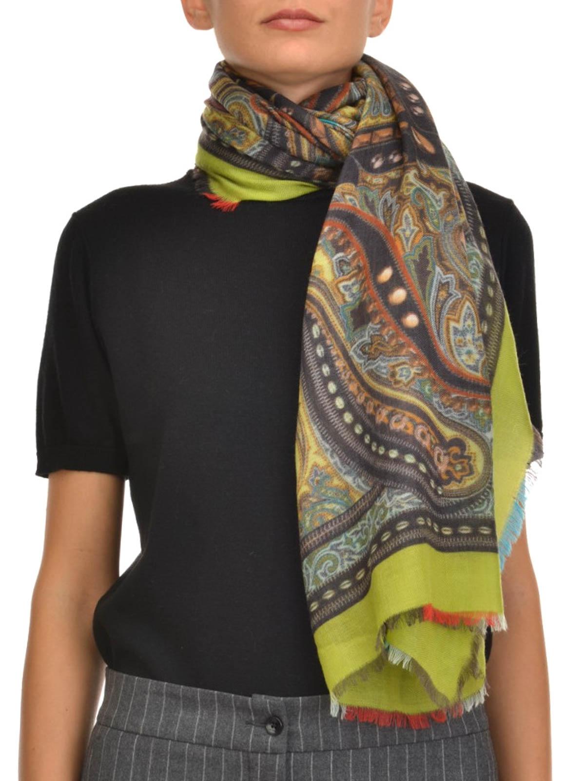 online store a138b 4fea7 Etro - Sciarpa di cashmere con stampa - sciarpe e foulard ...