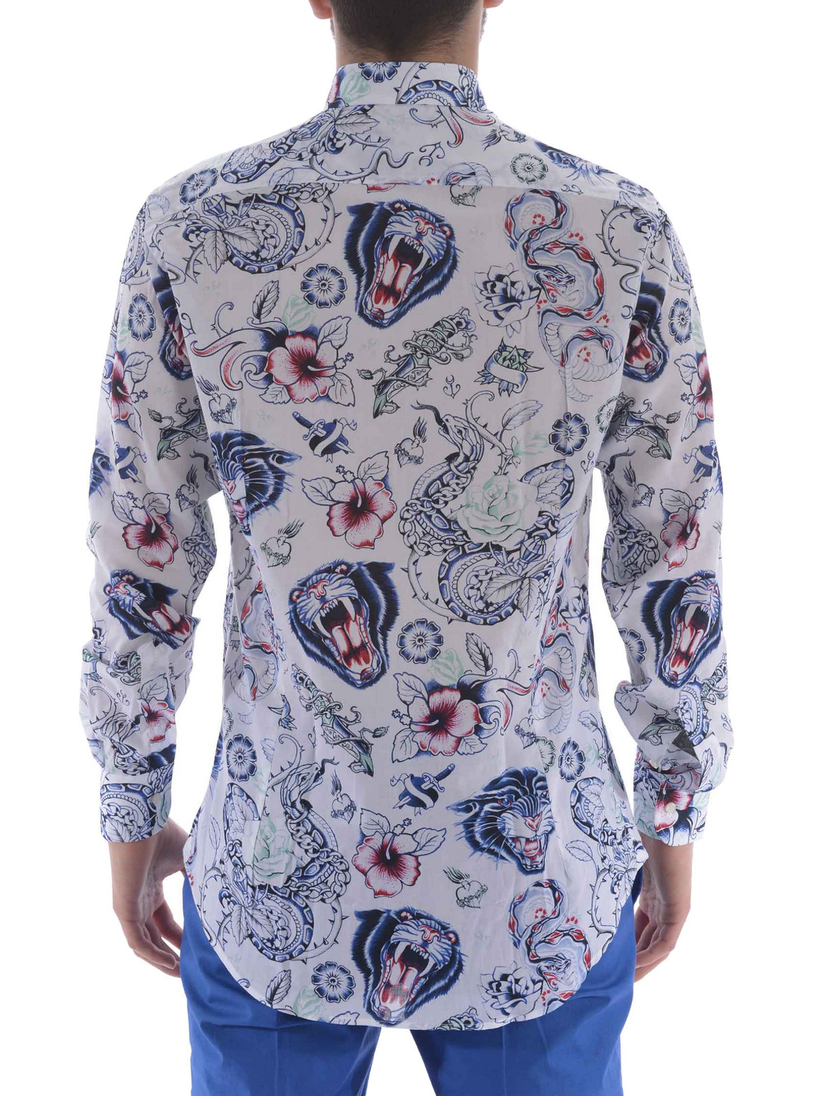 cheap for discount 0aaa1 08d8d Etro - Camicia in cotone stampa tattoo - camicie - 129086258991