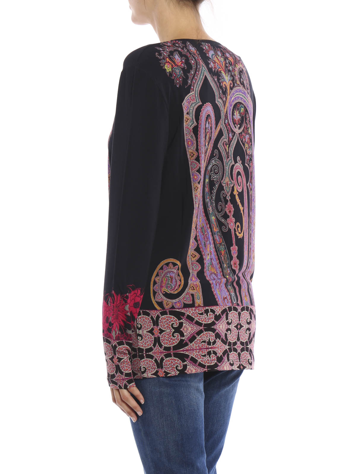 Long sleeves printed t shirt by etro t shirts ikrix for Long sleeve printed t shirts