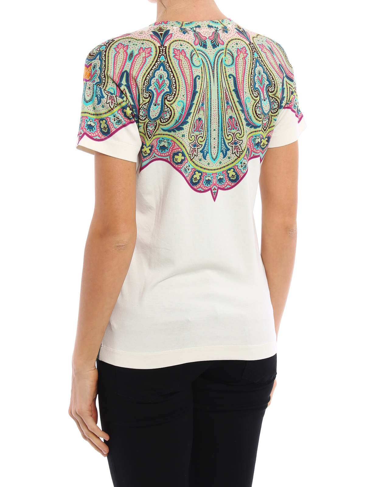 Printed jersey v neck t shirt by etro t shirts shop for Collar t shirt printing