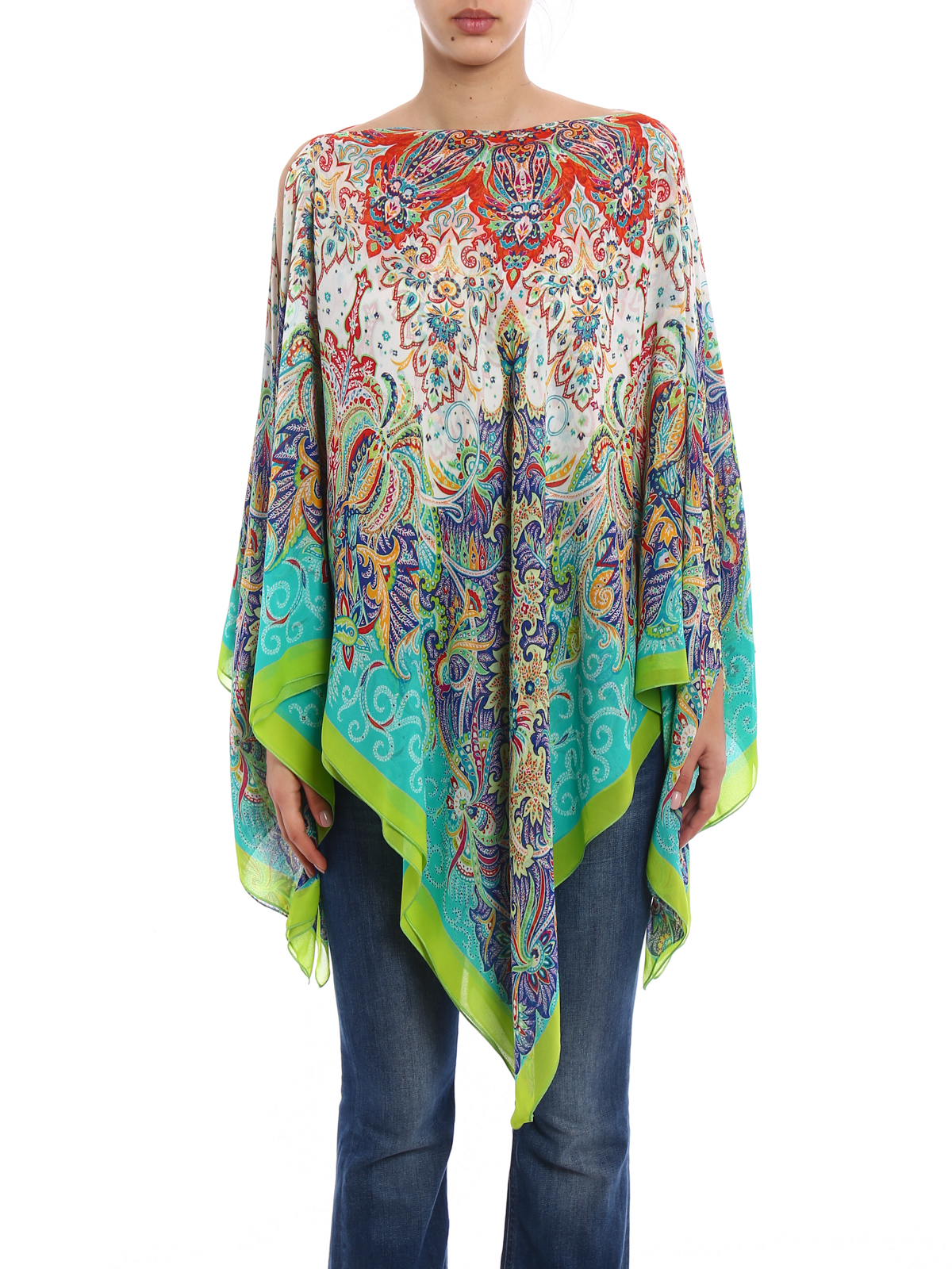 iKRIX Etro: tunics - Printed silk chiffon kaftan tunic