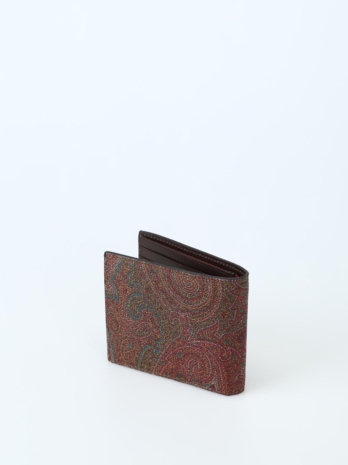 857258bb76 iKRIX ETRO: portafogli - Portafoglio marrone in tessuto paisley