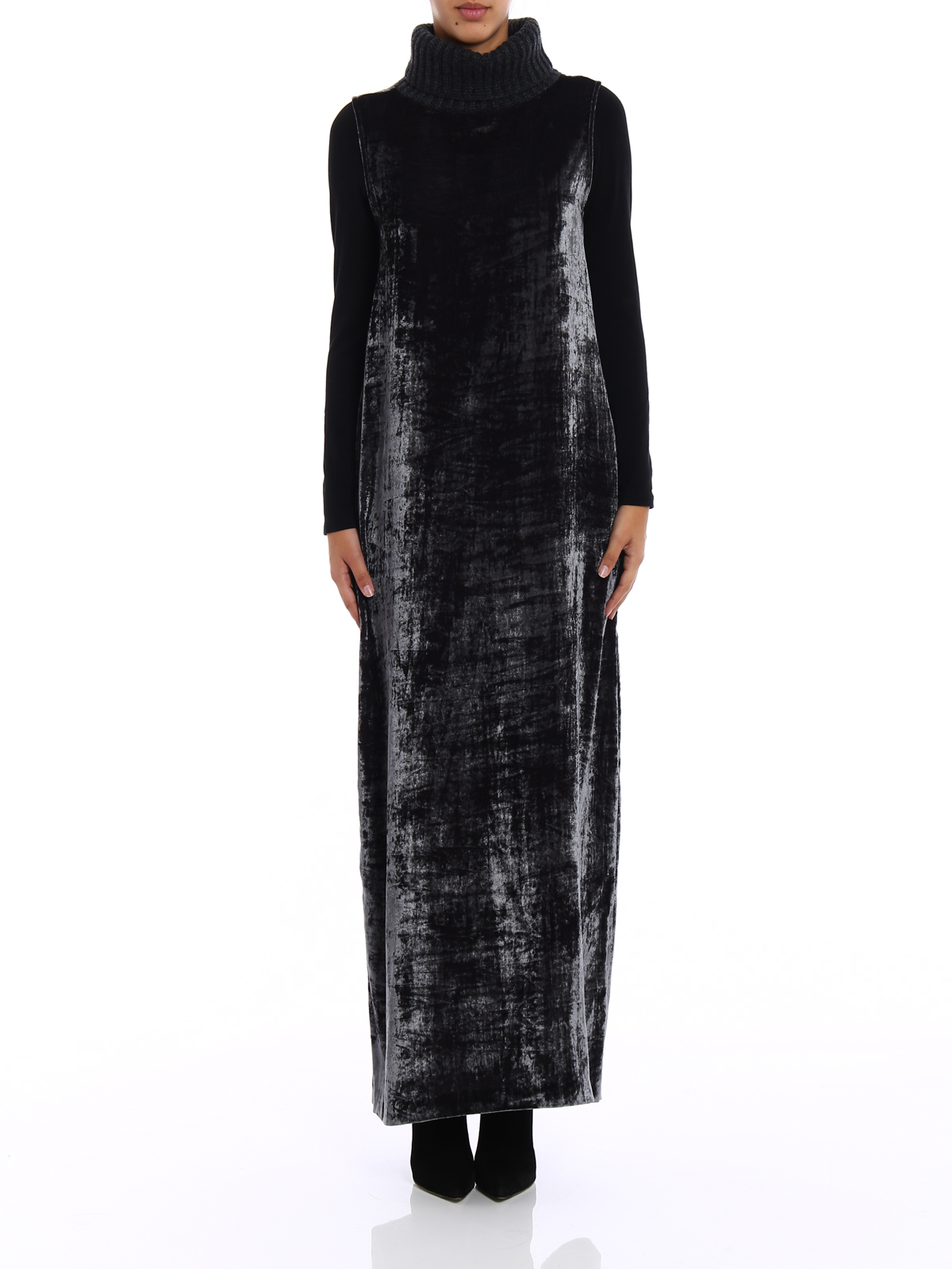 buy online 65570 2832e Fabiana Filippi - Abito in velluto colletto in maglia ...